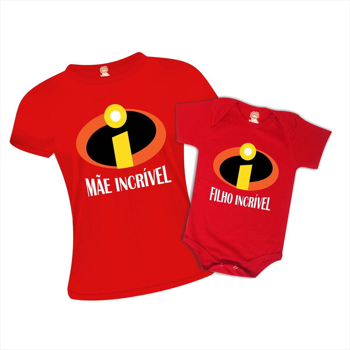 Kit Camiseta e Body Mãe Incrível e Filho Incrível