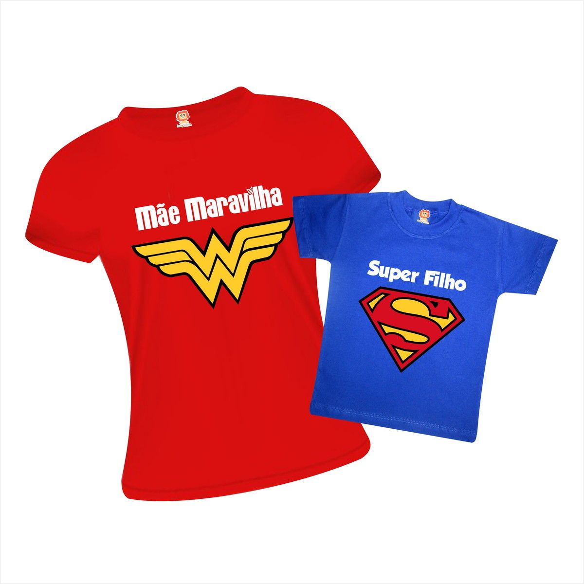 Kit Camiseta e Body Mãe Maravilha e Super Filho