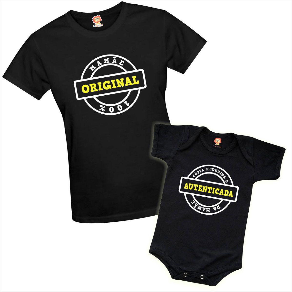 Kit Camiseta e Body Original e Cópia Dia Das Mães