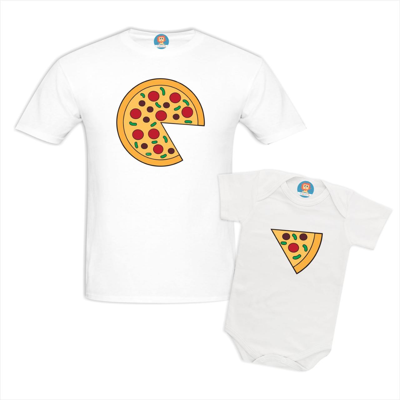 Kit Camiseta e Body ou Camisetinha Infantil Tal Pai Tal Filho Pizza
