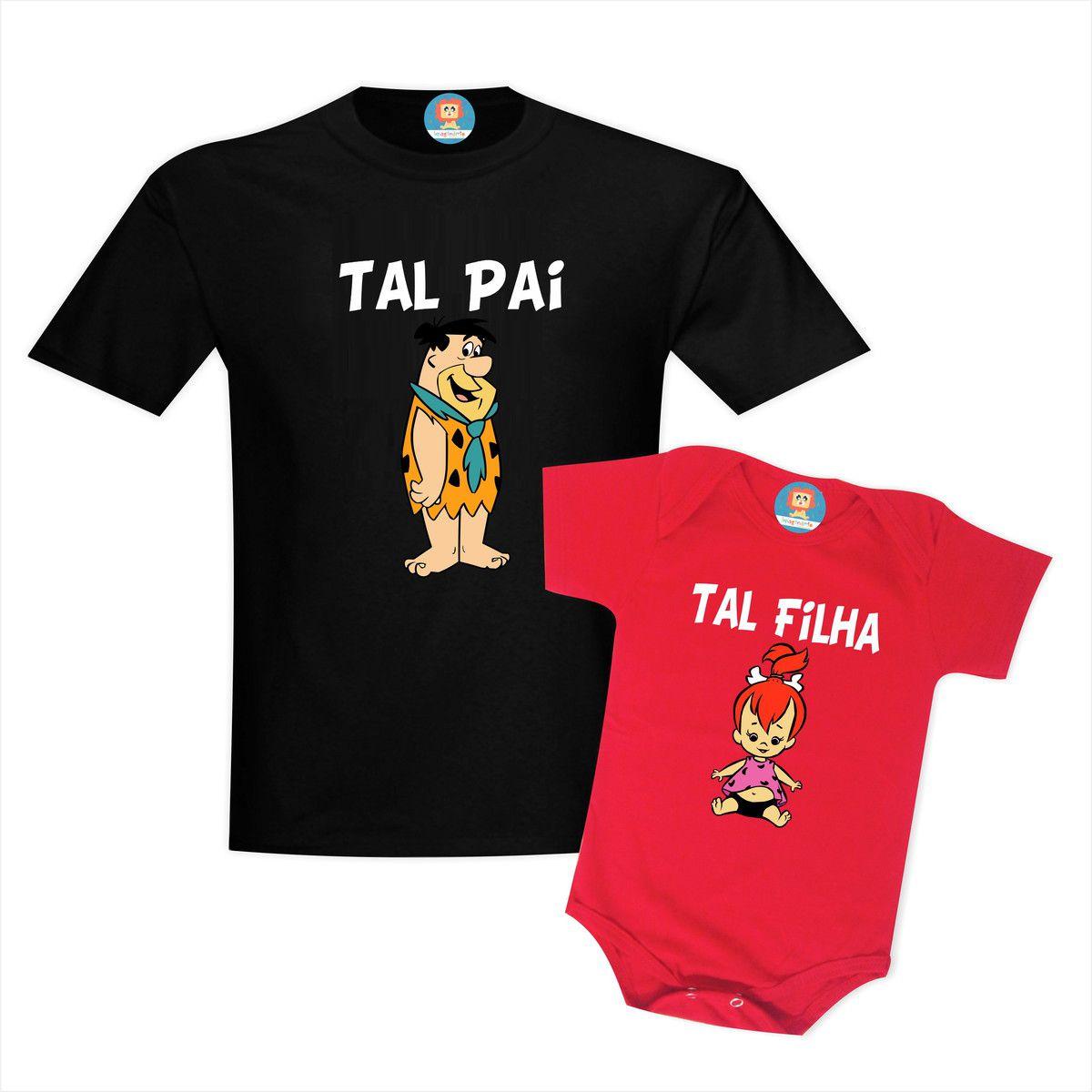 Kit Camiseta e Body Pai Fred Filha Pedrita Os Flinstones