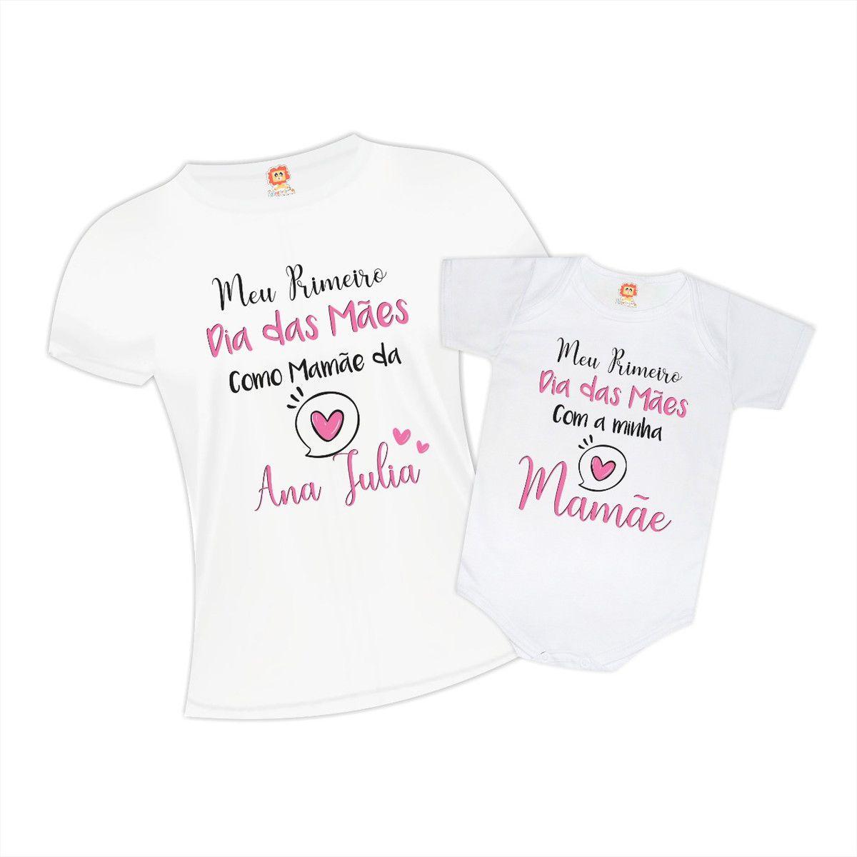 Kit Camiseta e Body Primeiro Dia das Mães Coração