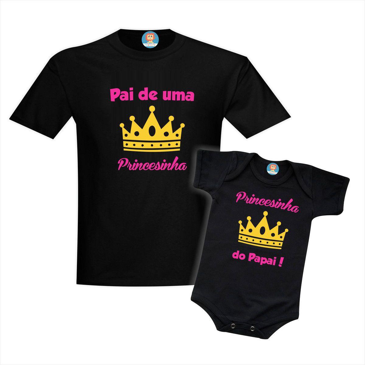 Kit Camiseta e Body Princesinha do Papai