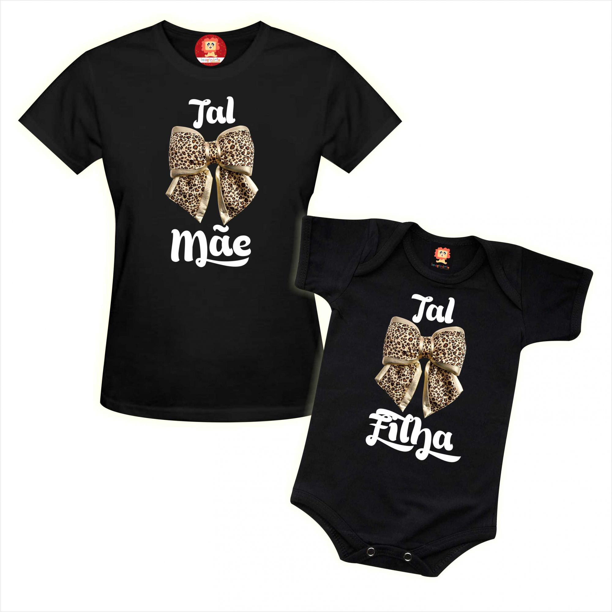 Kit Camiseta e Body Tal Mãe Tal Filha Onça e Oncinha Dia das Mães