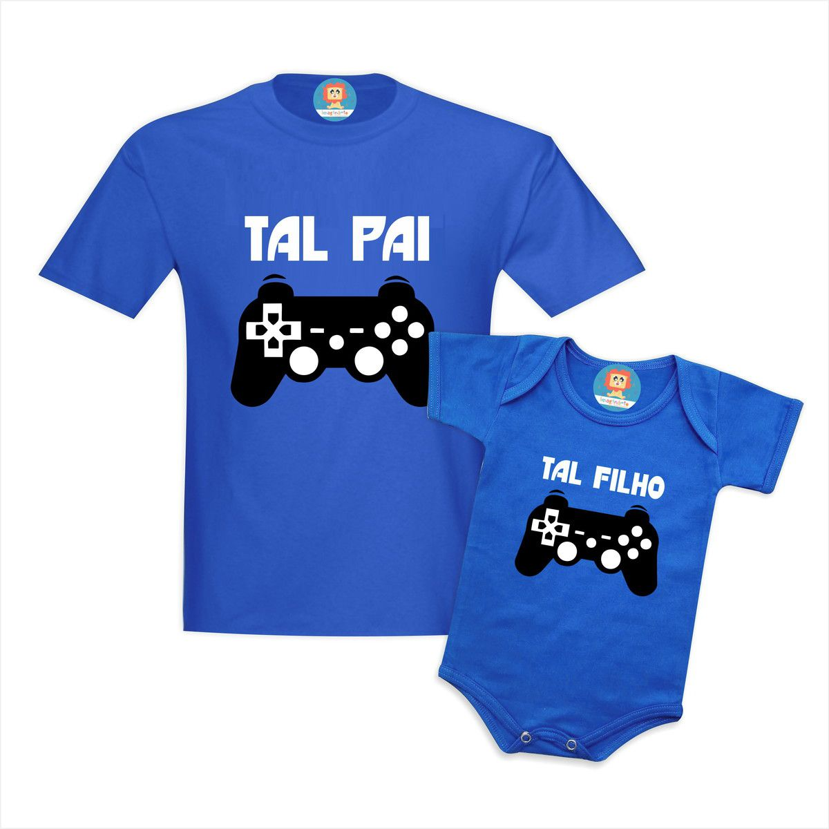 Kit Camiseta e Body Tal Pai Tal Filho Game PlayStation