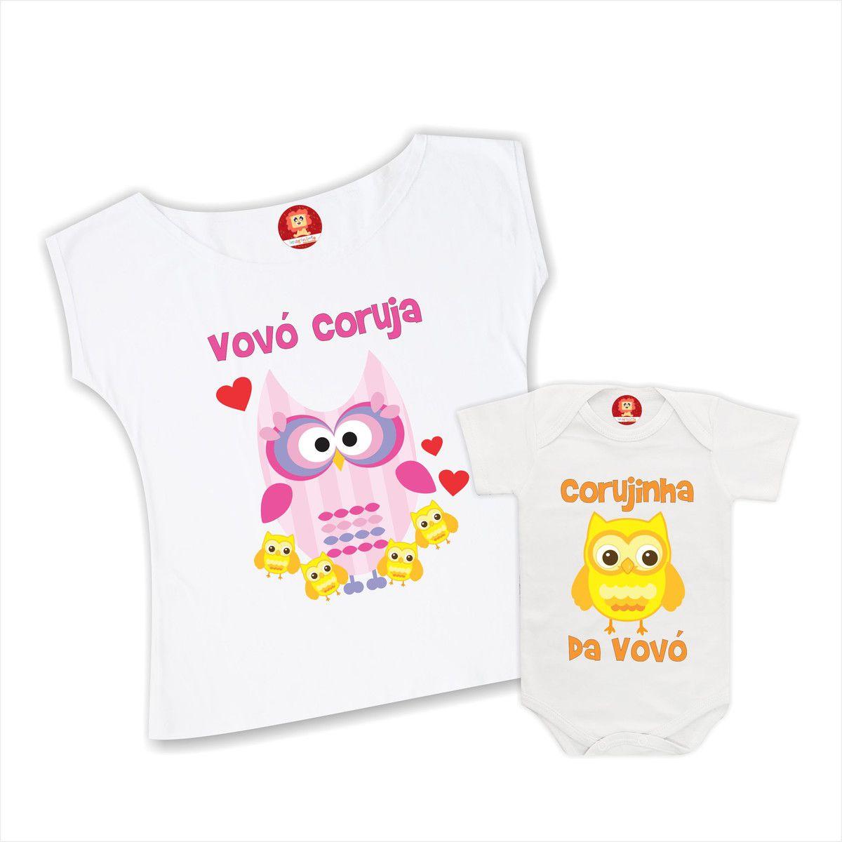 Kit Camiseta e Body Vovó Coruja