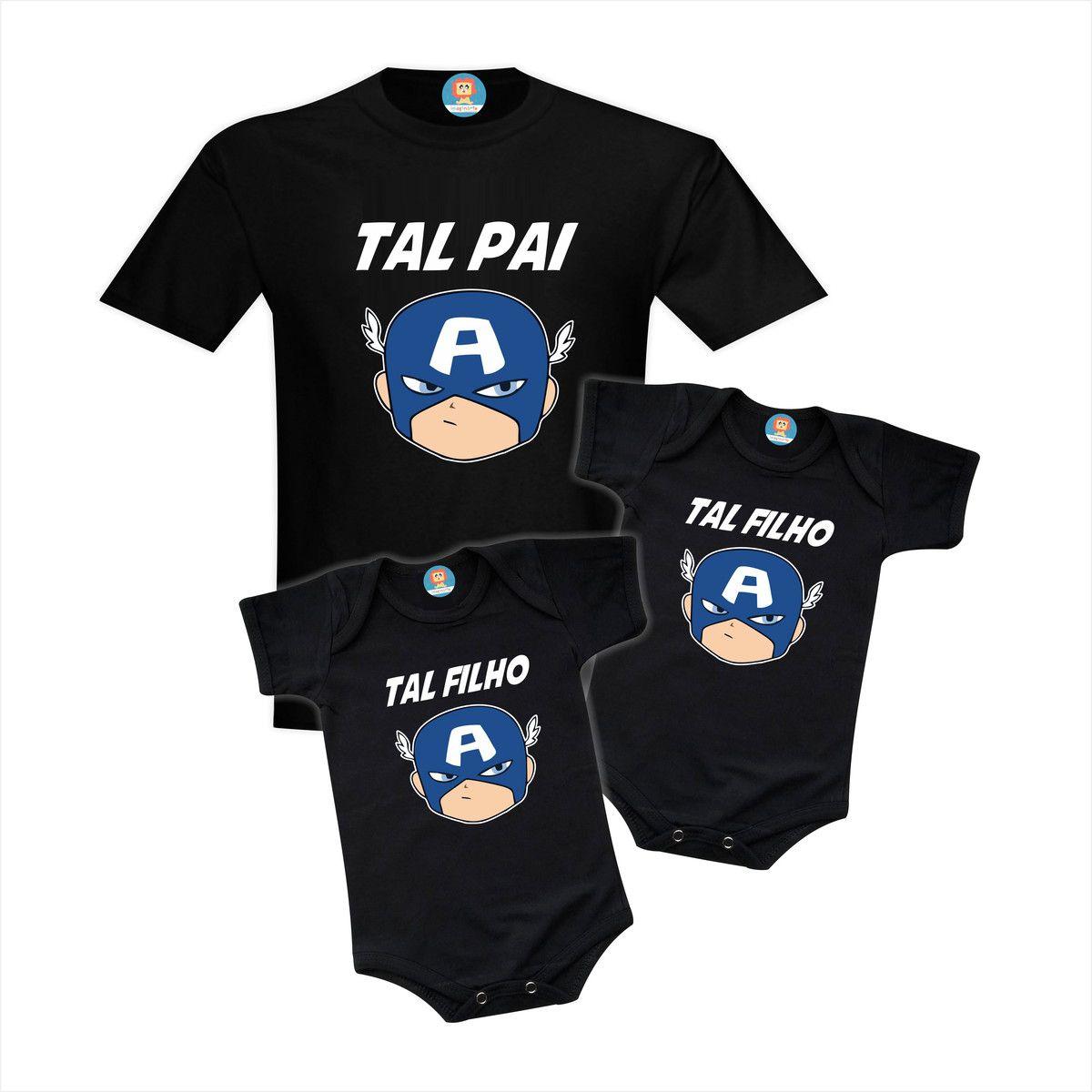Kit Camiseta e Bodys Capitão América - Gêmeos  ou Irmãos