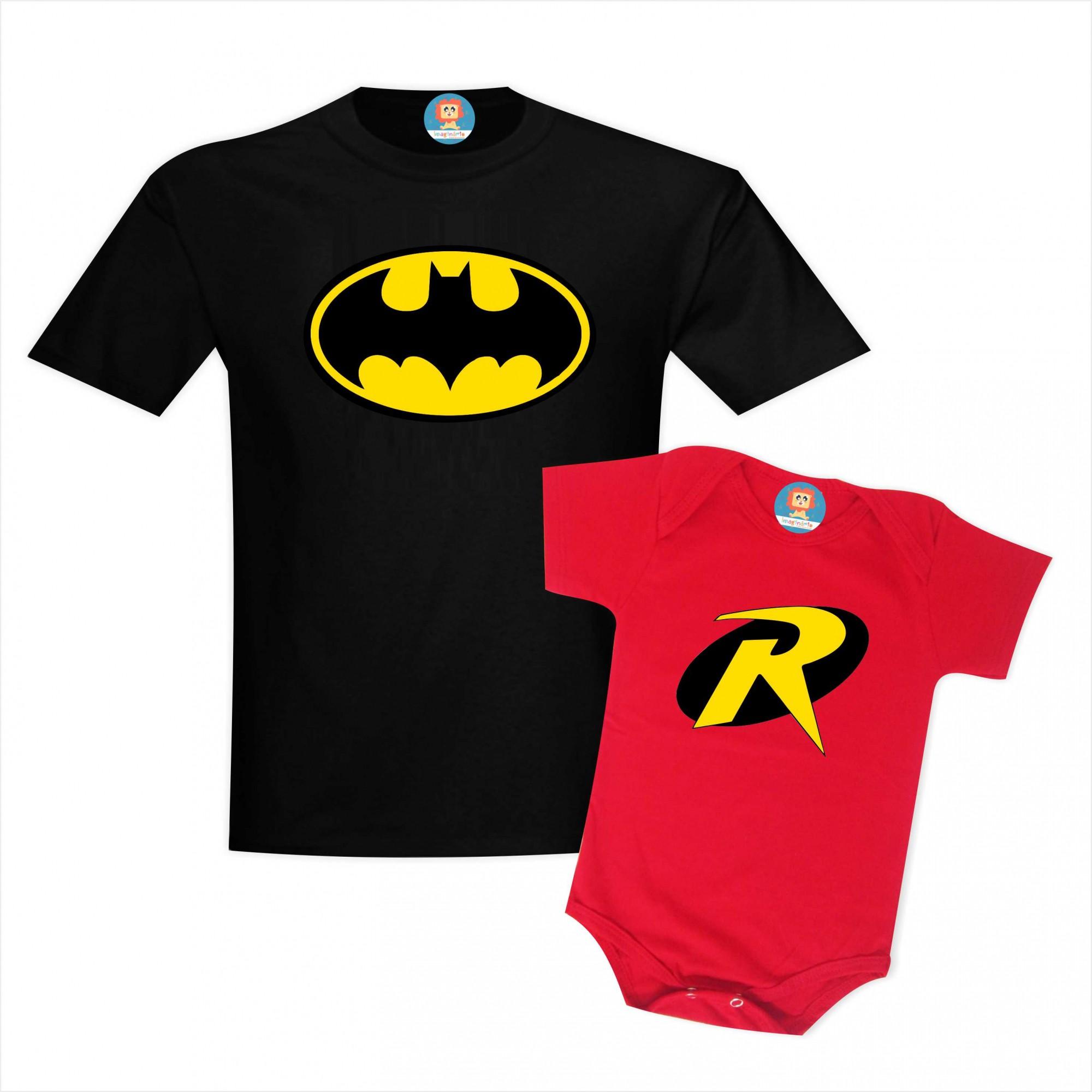 Kit Camiseta e Roupinha de Bebê Batman e Robin Dia dos Pais Tal Pai e Filho