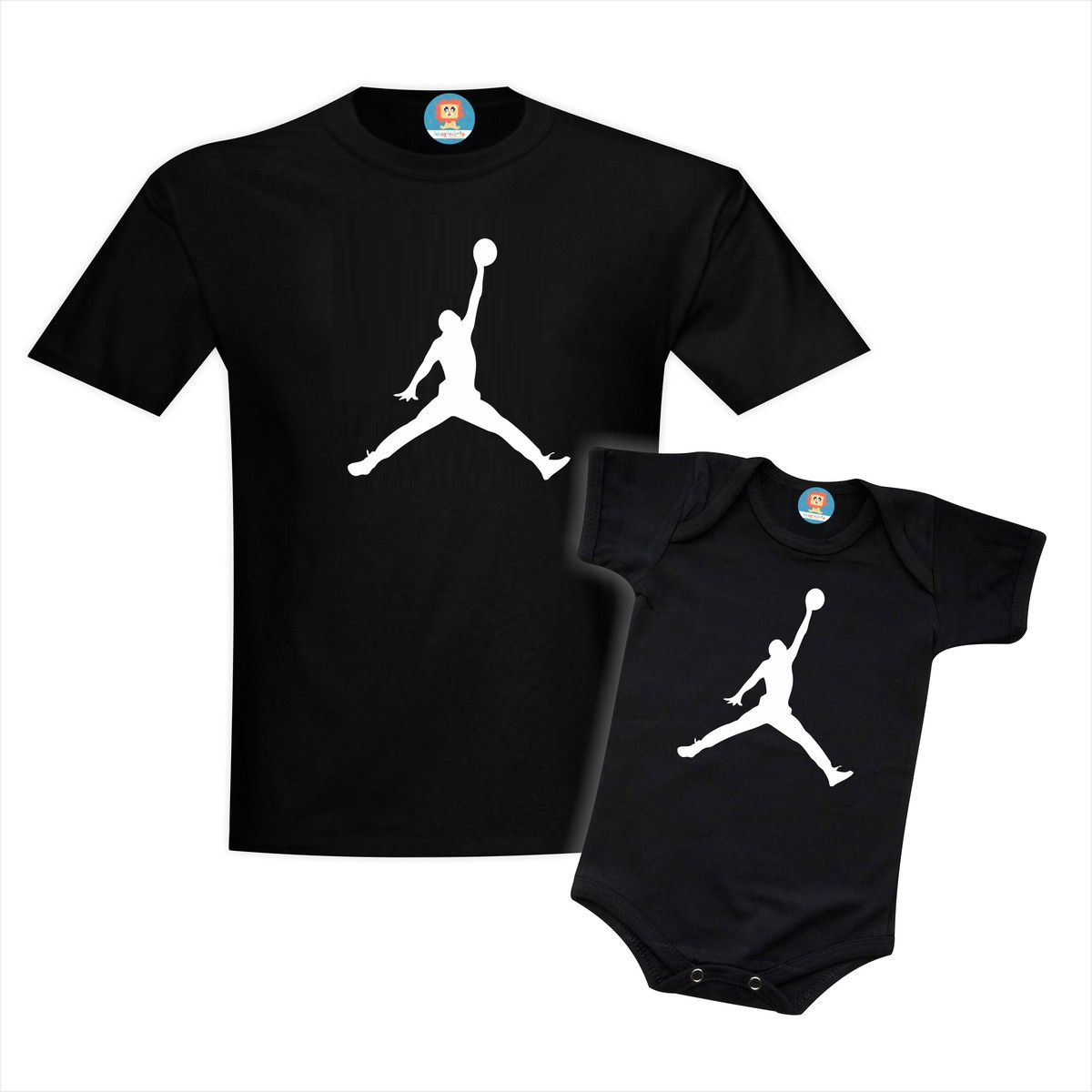 Kit Camiseta e Roupinha de Bebê Jordan Basquete NBA Basket Ball Dia dos Pais
