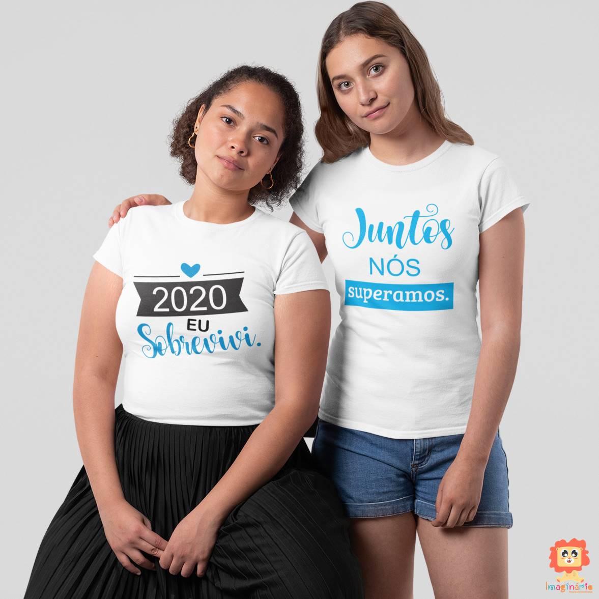 Kit Camisetas Adultos Eu Sobrevivi e Juntos Nós Superamos