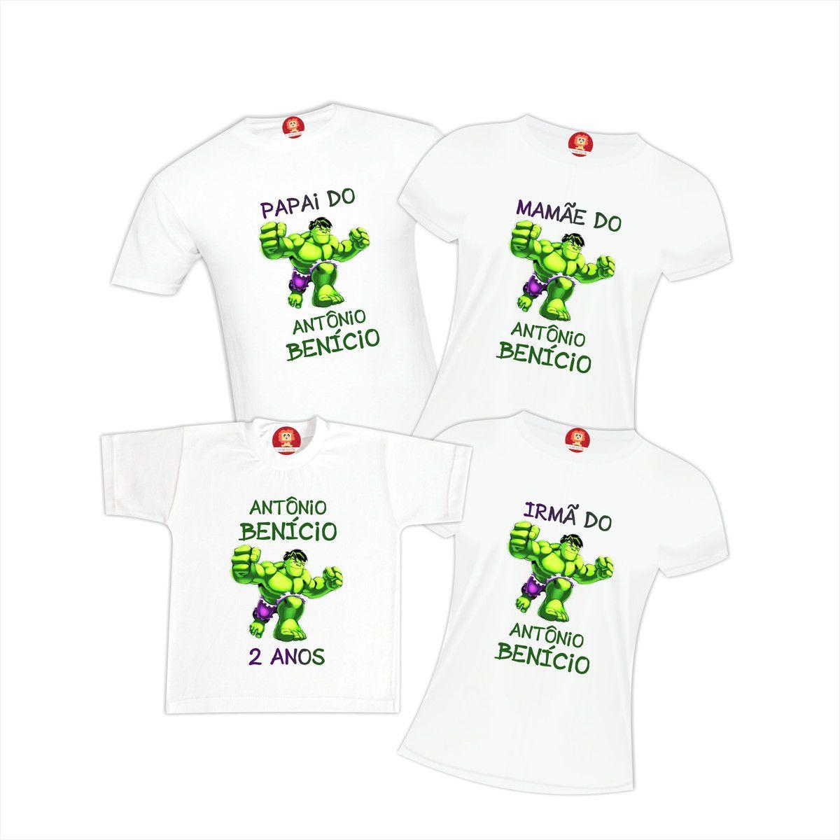 Camisetas de Aniversario O Incrível Hulk Personalizadas Com Nome
