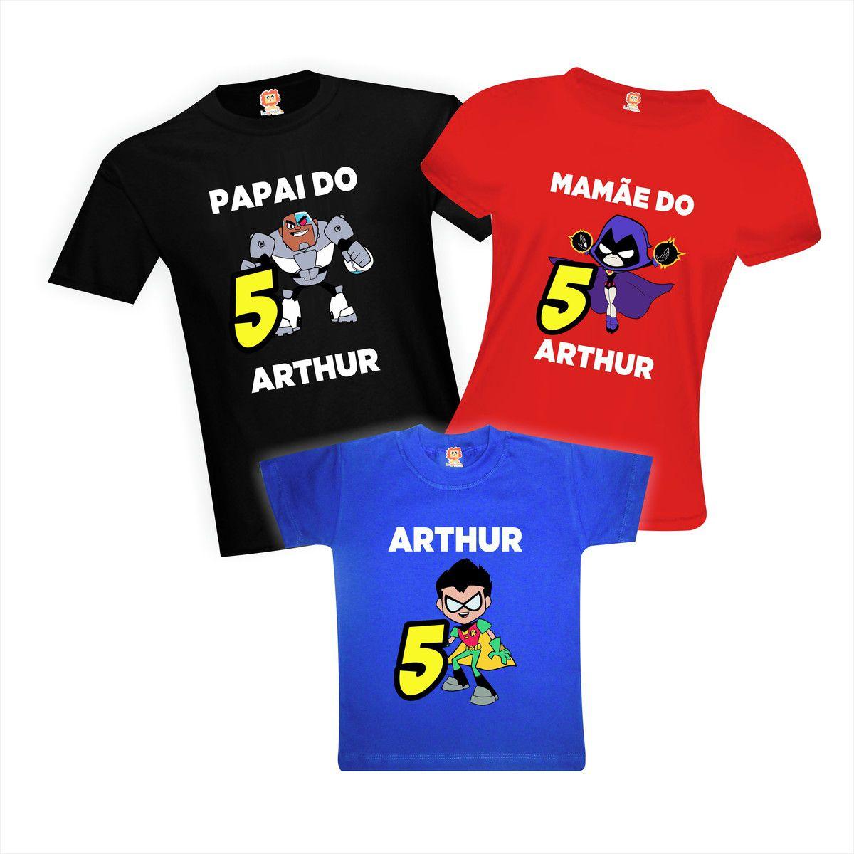 Kit Camisetas Aniversário Teen Titans Go - Jovens Titãs
