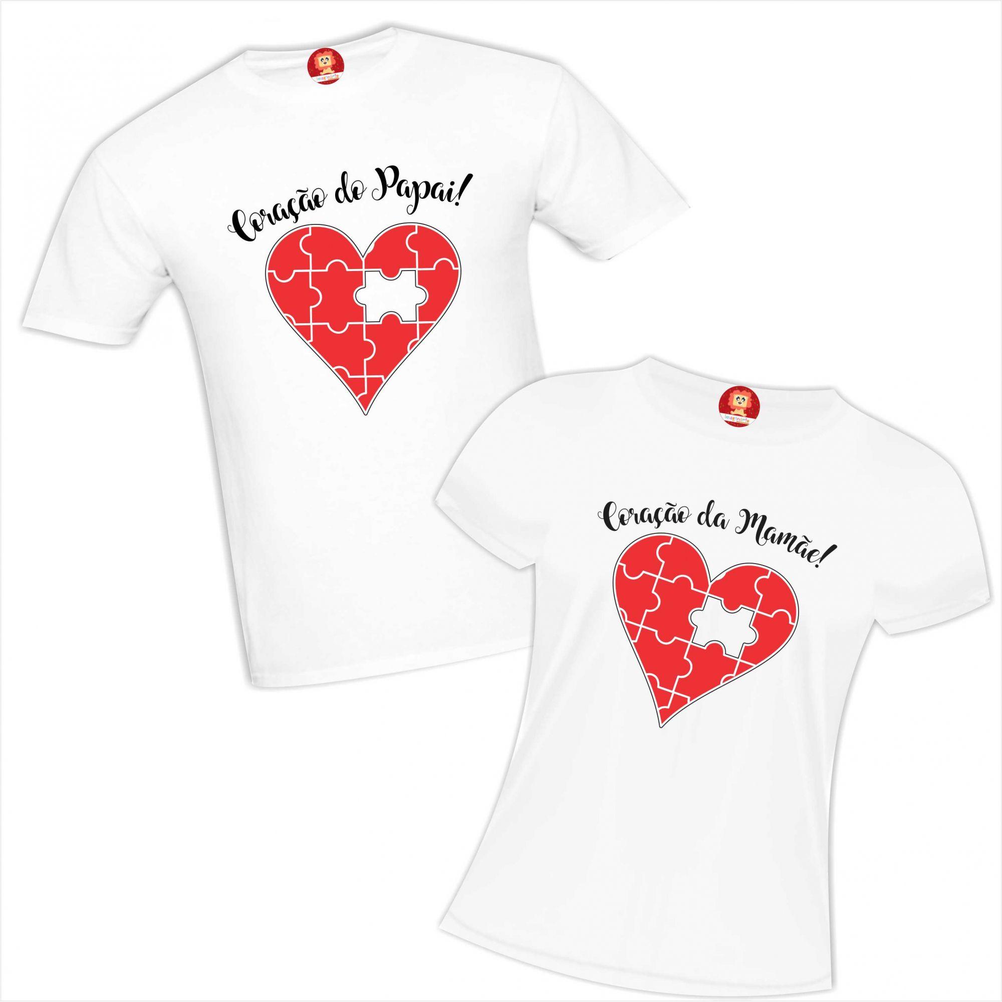 Kit Camisetas Coração do Papai e da Mamãe