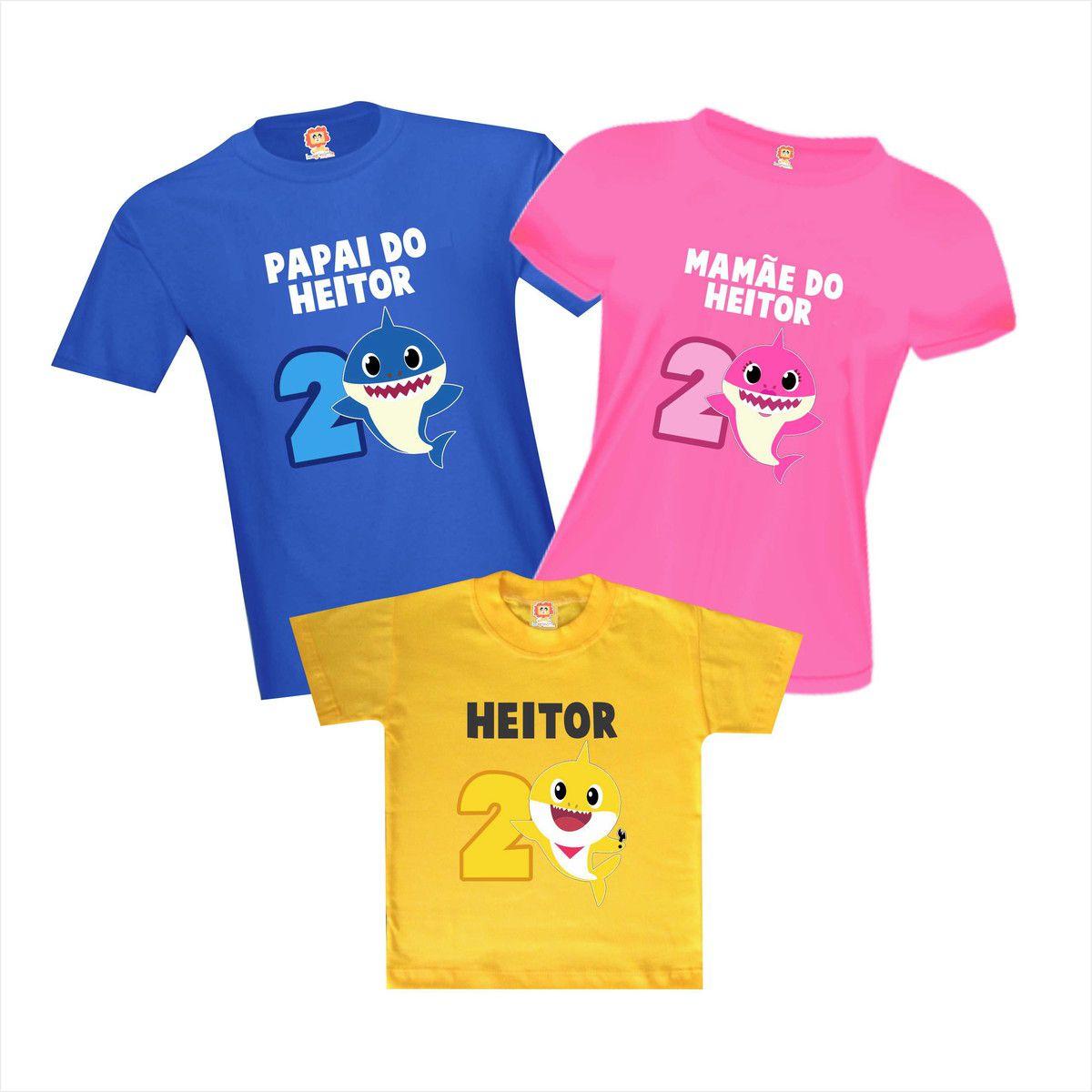 Kit Camisetas de Aniversário Baby Shark Personalizadas Com Nome