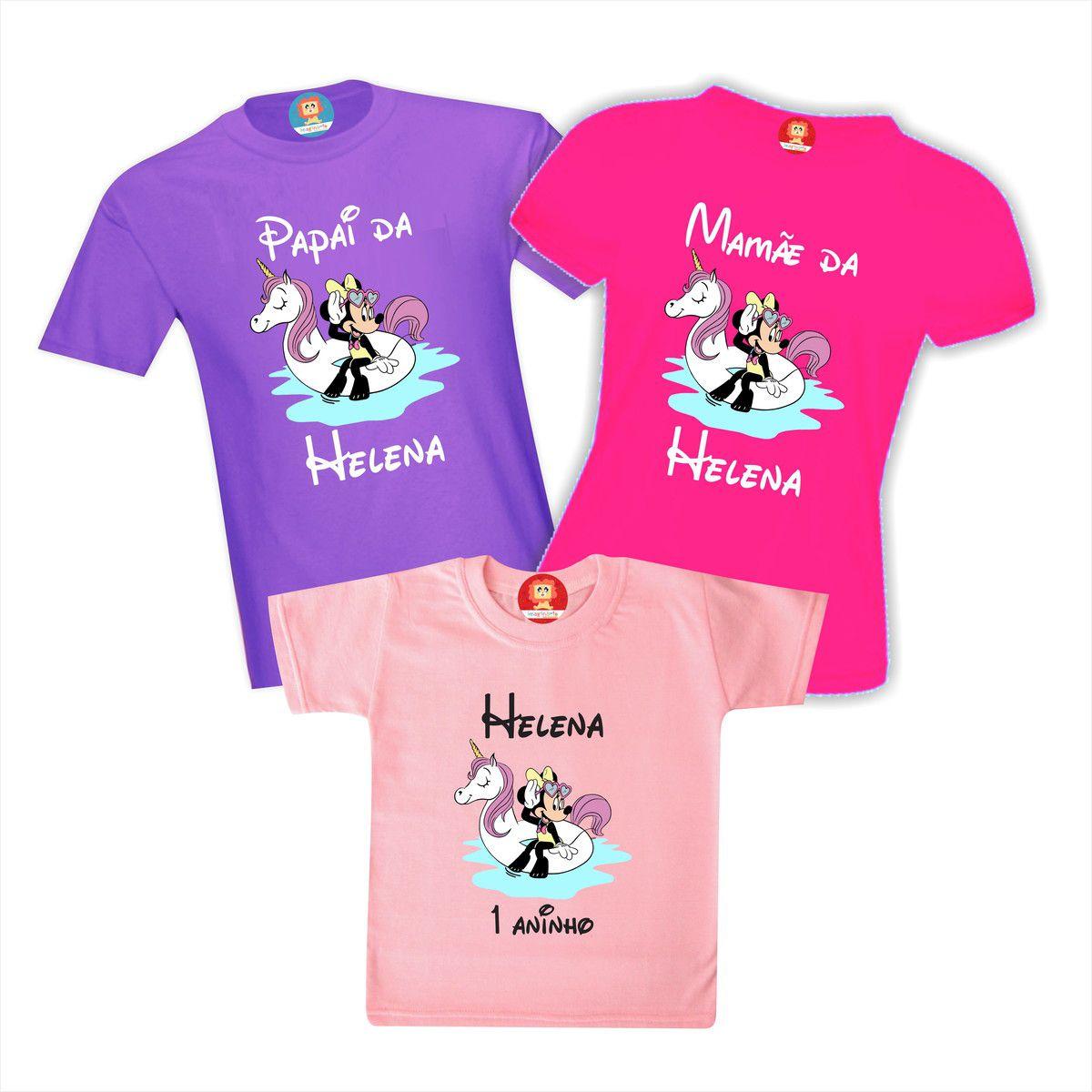 Kit Camisetas de Aniversário Minnie Unicórnio