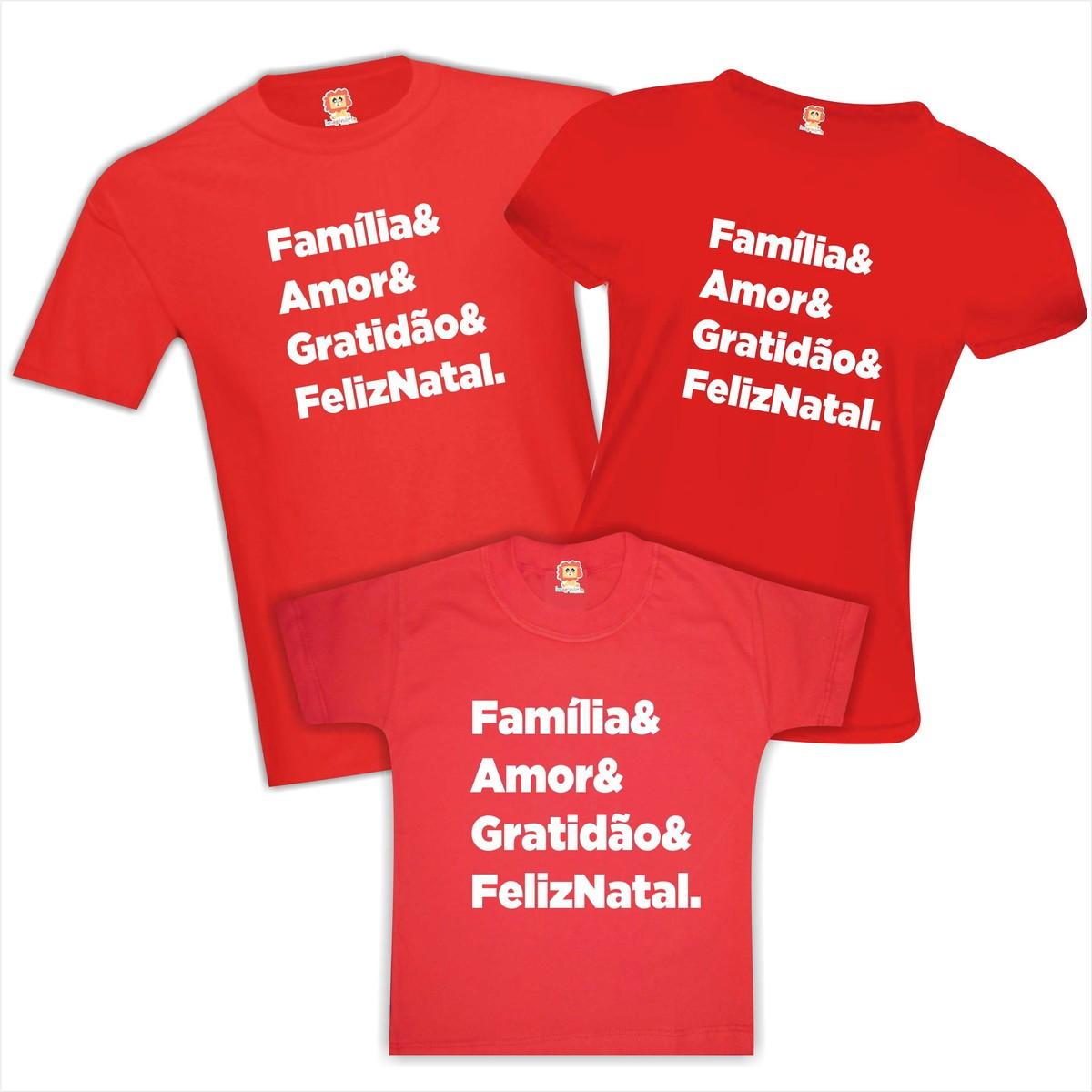 Kit Camisetas de Natal Família Amor Gratidão Feliz Natal