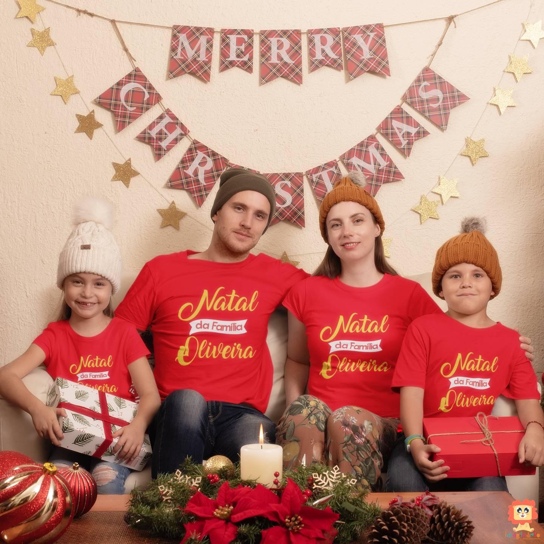 Kit Camisetas de Natal para Família com Sobrenome
