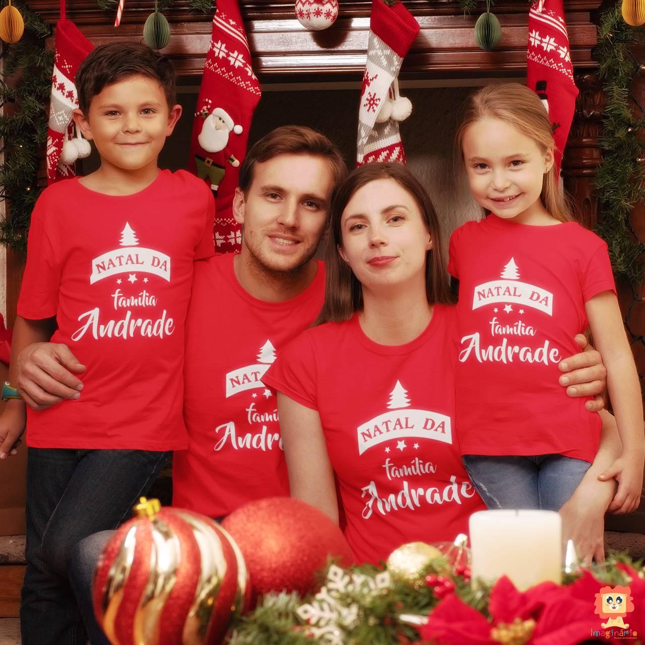 Kit Camisetas de Natal para Família Personalizada com Sobrenome