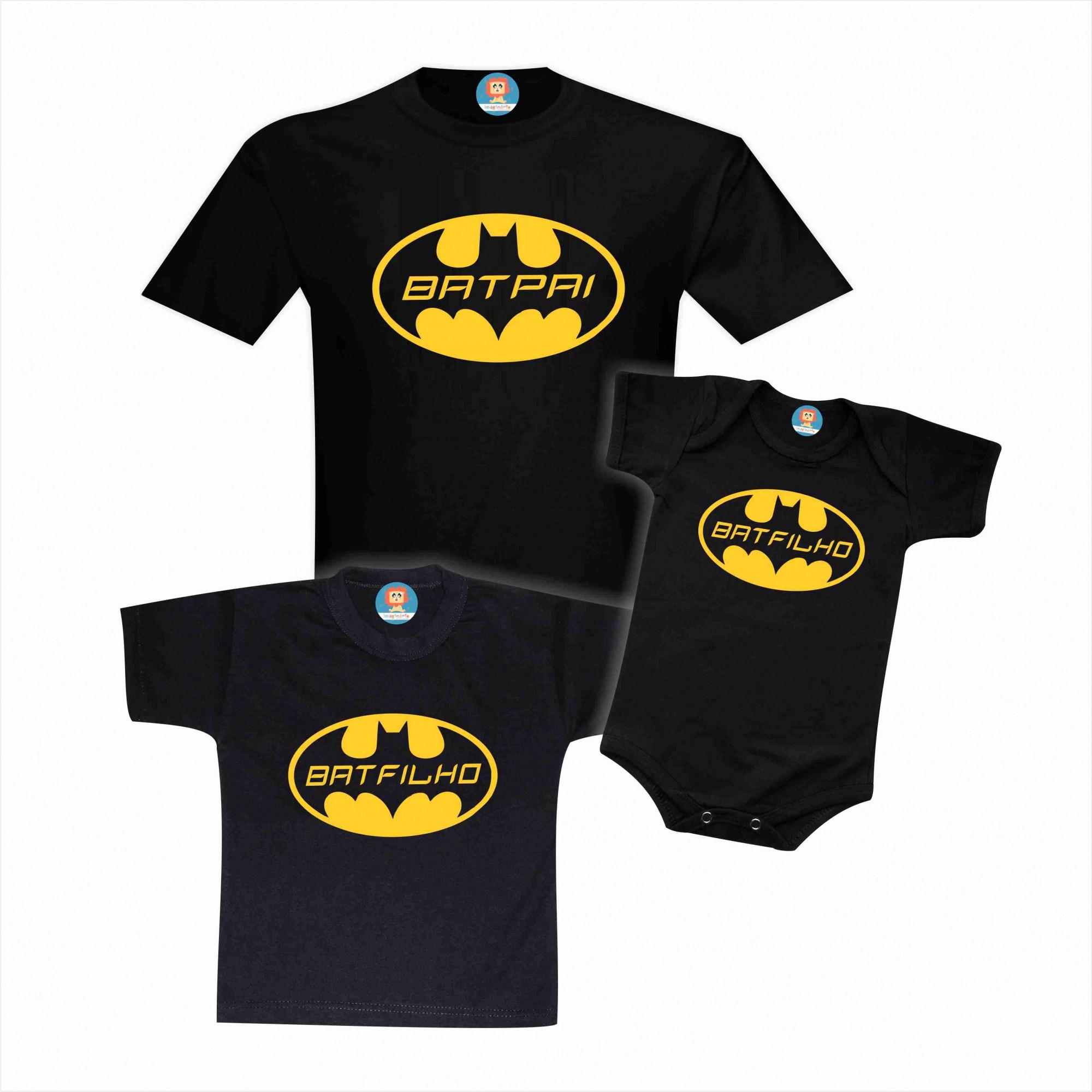 Kit Camisetas e Body BatPai BatFilho Batman Tal Pai e Filho Dia dos Pais