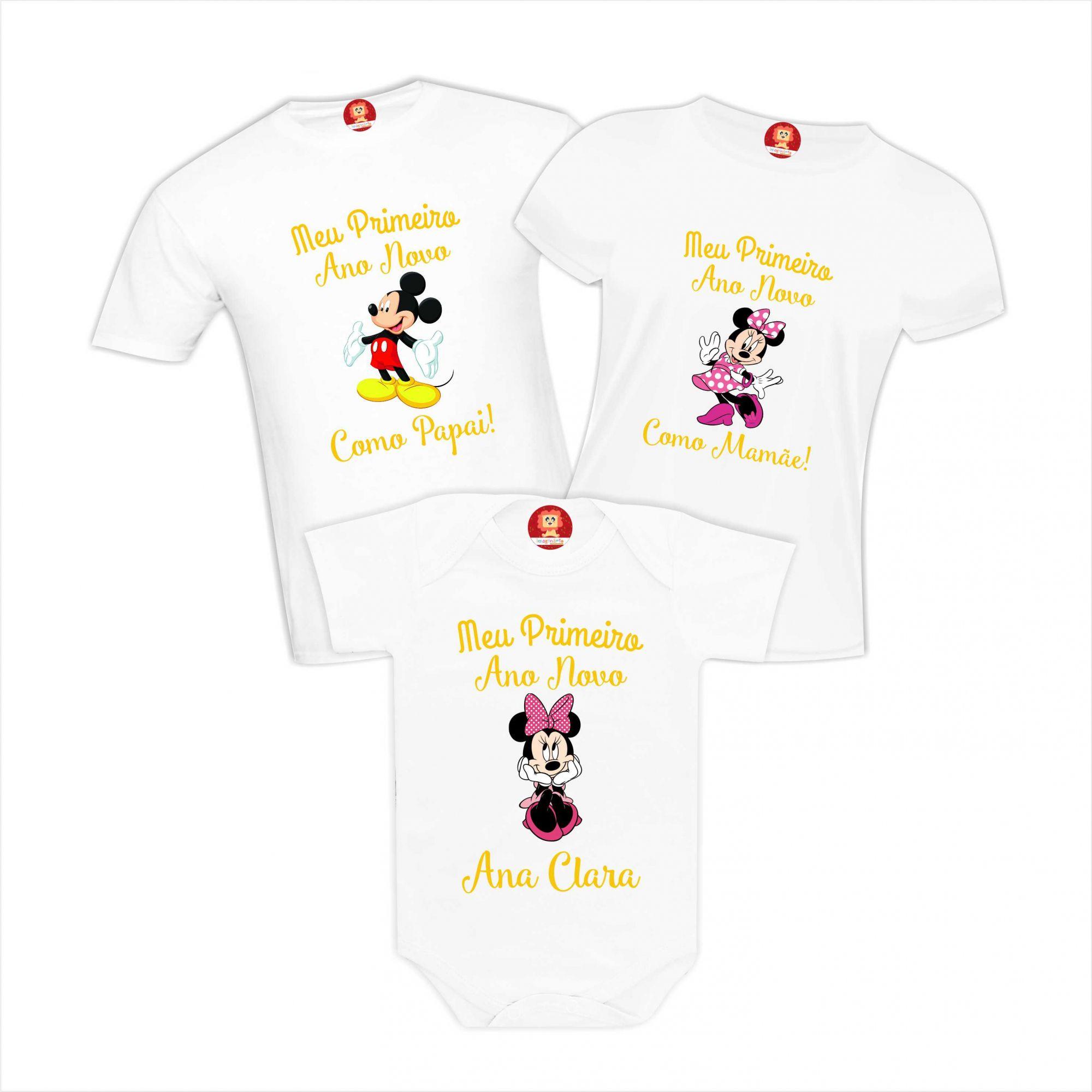 Kit Camisetas e Body Meu Primeiro Ano Novo Mickey Papai Mamãe Filha Personalizado Com Nome