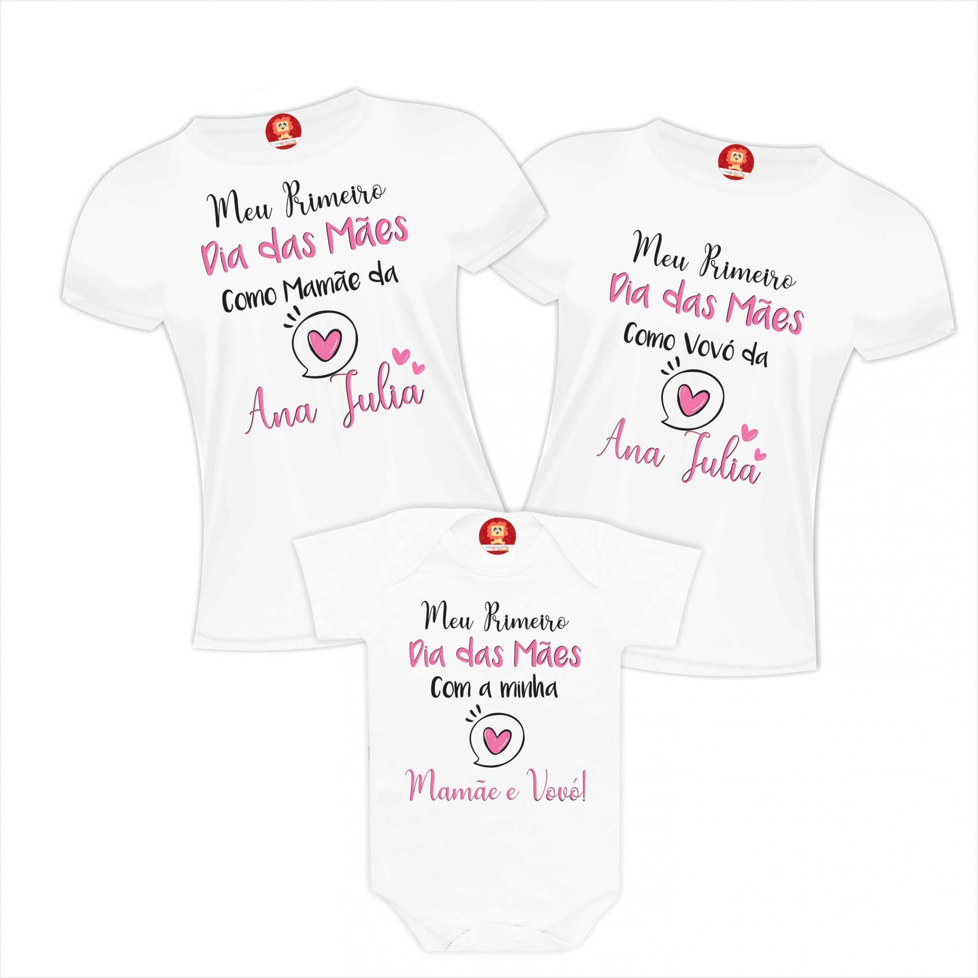 Kit Camisetas e Body Meu Primeiro Dia das Mães Mamãe Vovó Bebê