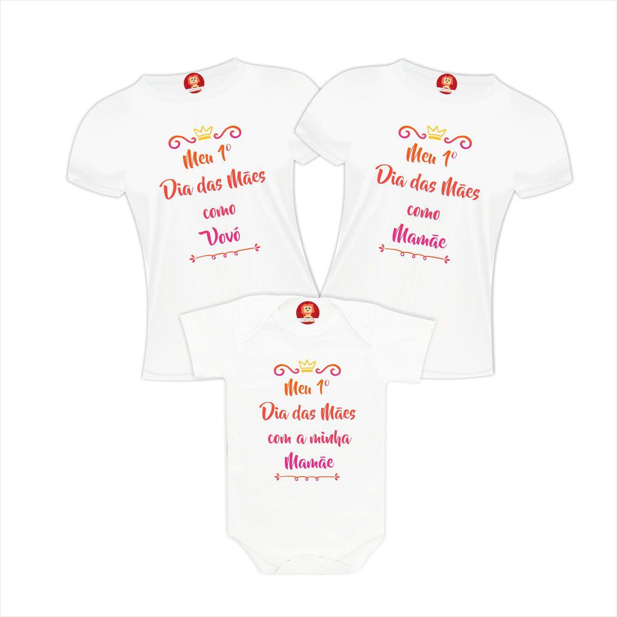 Kit Camisetas e Body Primeiro Dia das Mãe Coroa