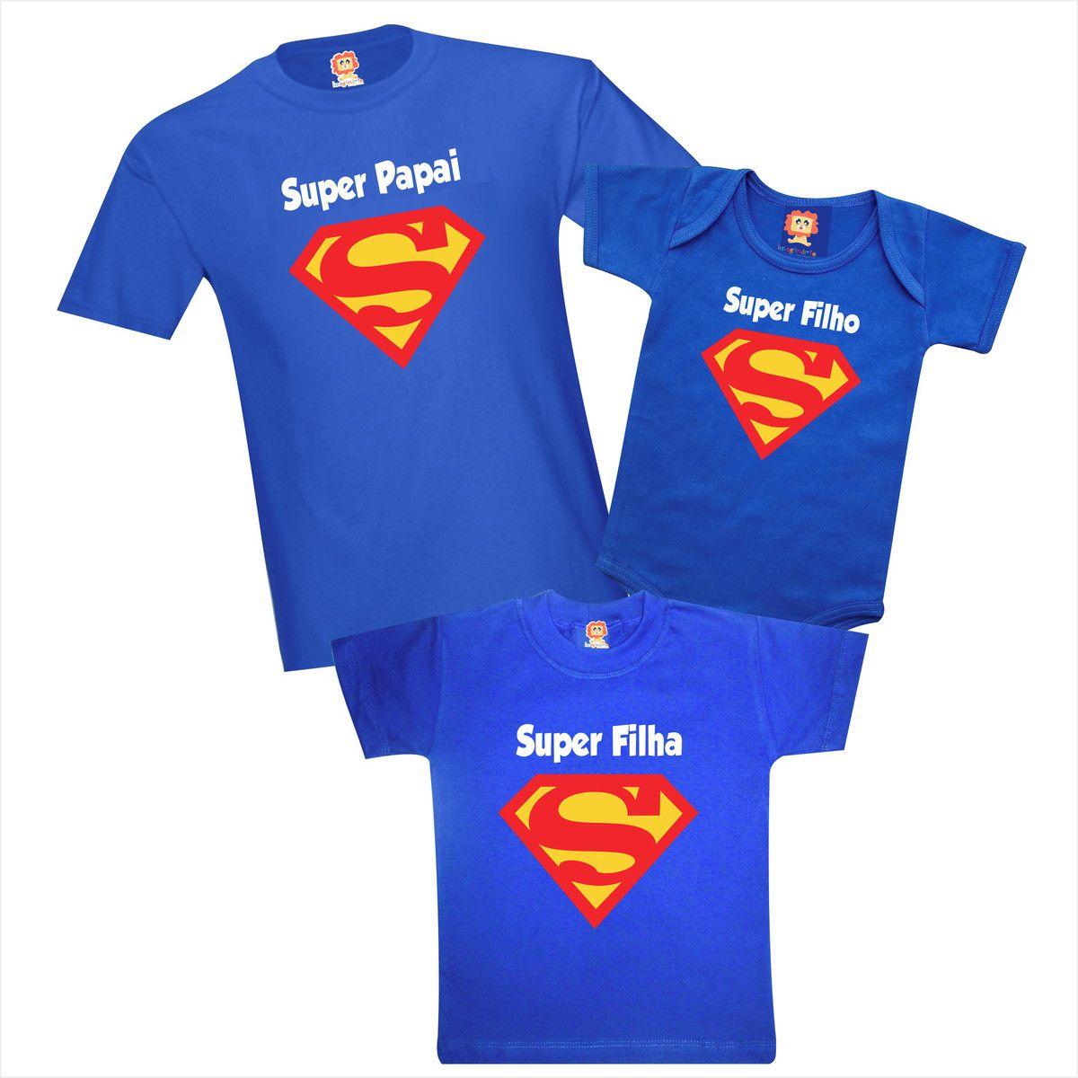 Kit Camisetas e Roupinha de Bebê Super Papai Filho Filha Dia dos Pais