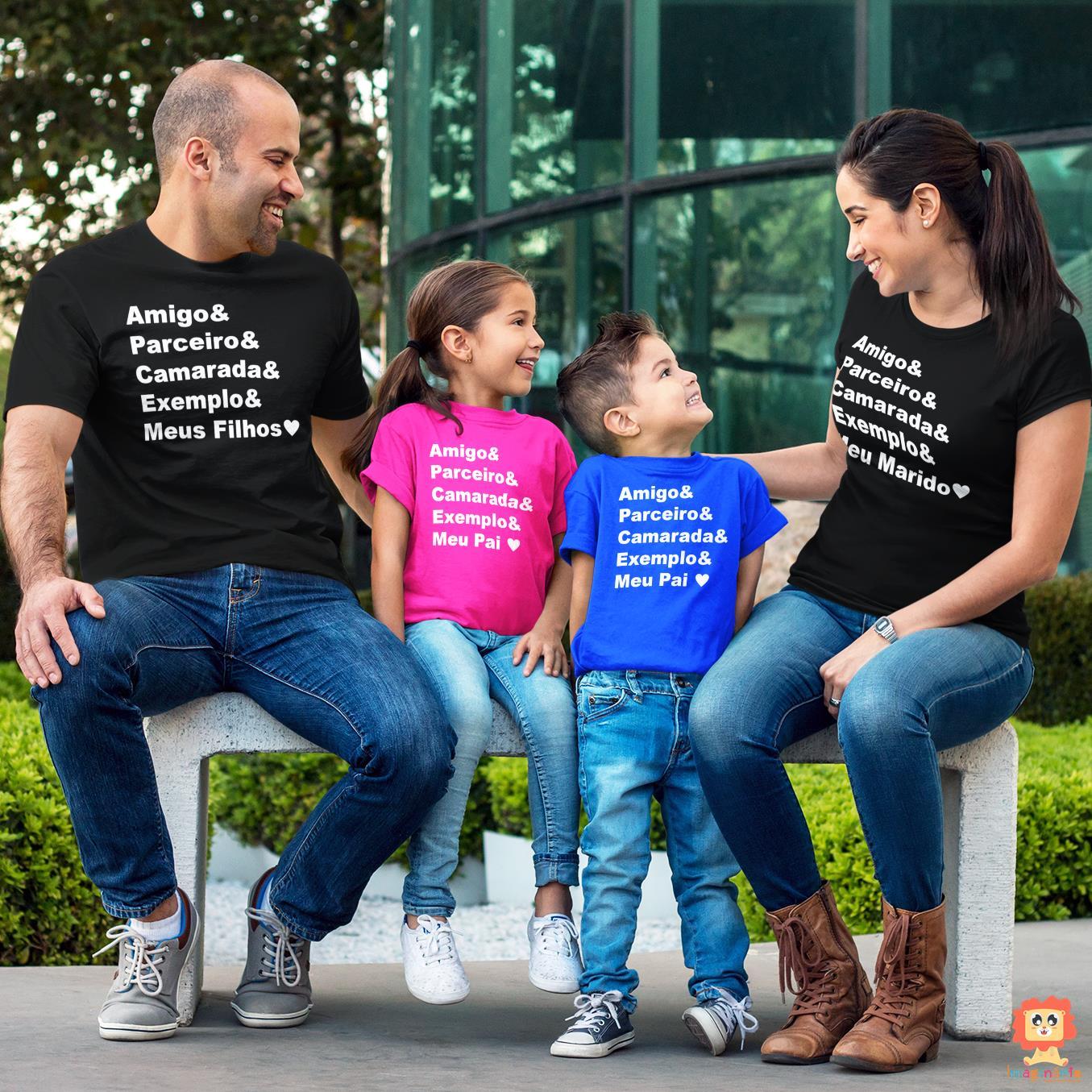 Kit Camisetas Família Amigo Parceiro Camarada Exemplo 4pc