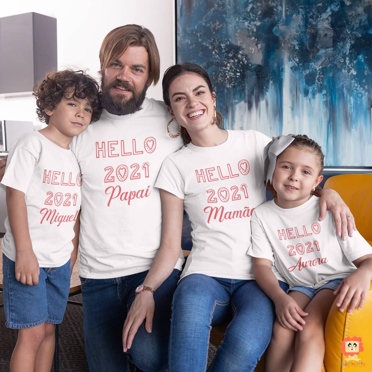 Kit Camisetas Família Hello 2021 Ano Novo