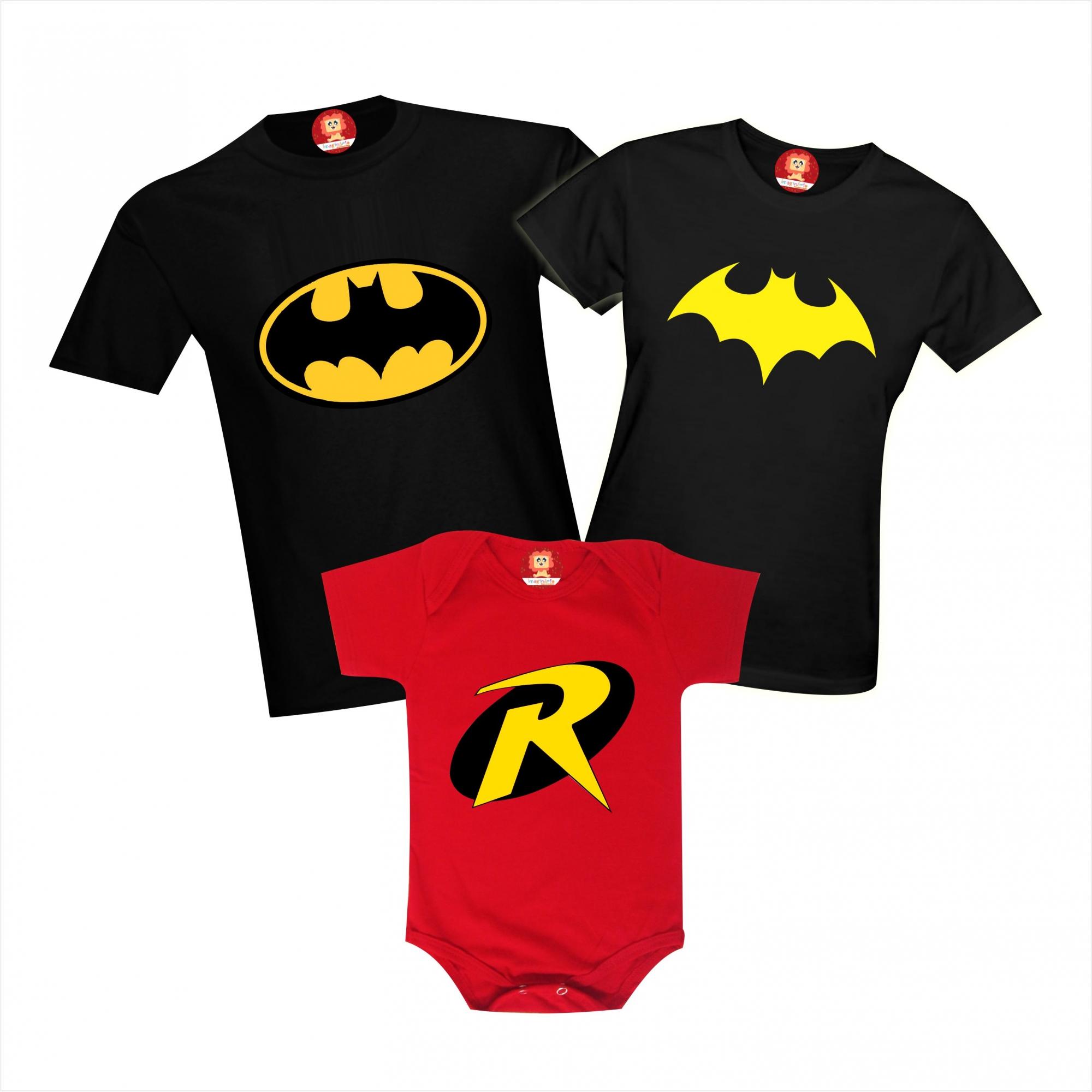 Kit Camisetas Família Heróis Batman Batgirl Robin
