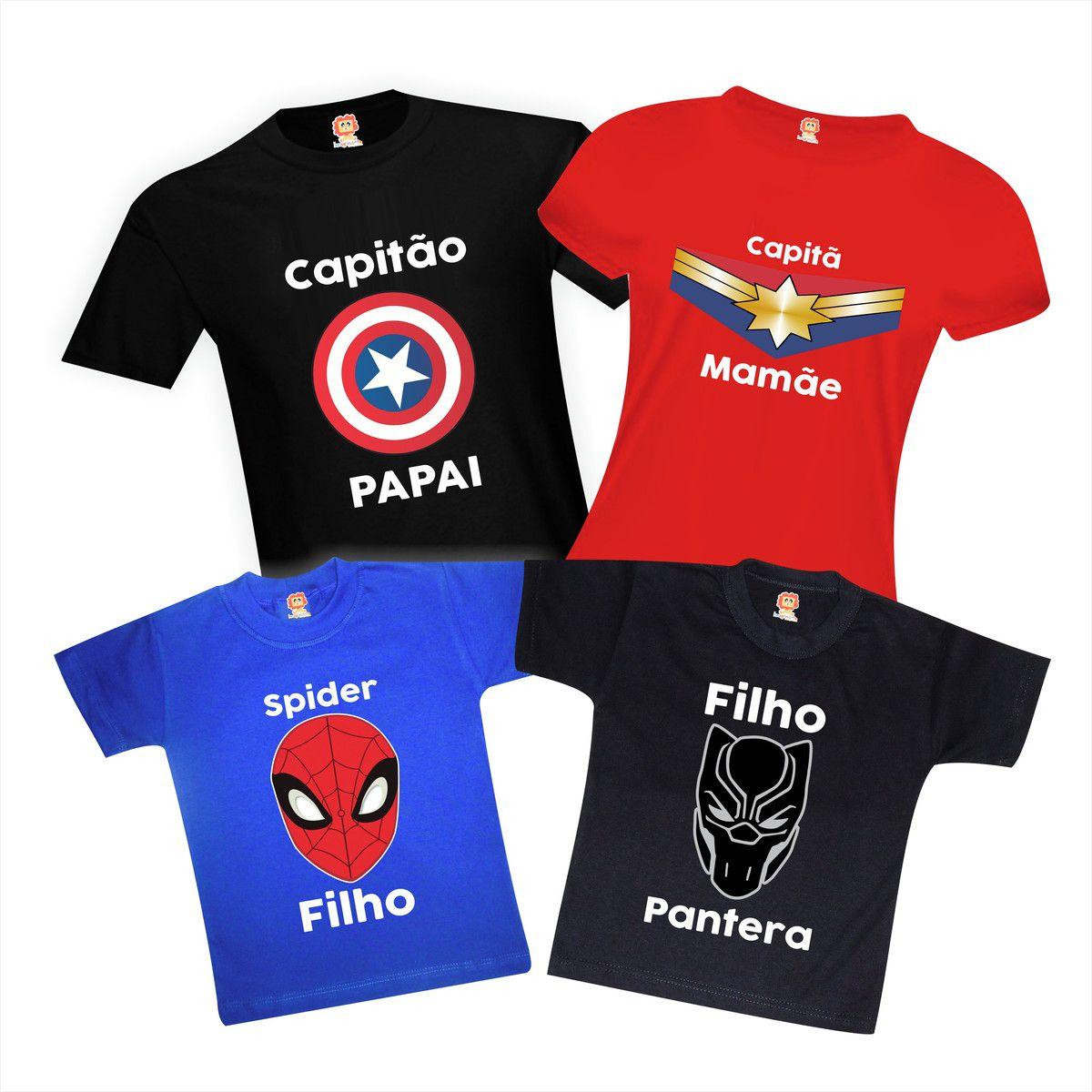 Kit Camisetas Família Heróis Vingadores Avengers Ultimato