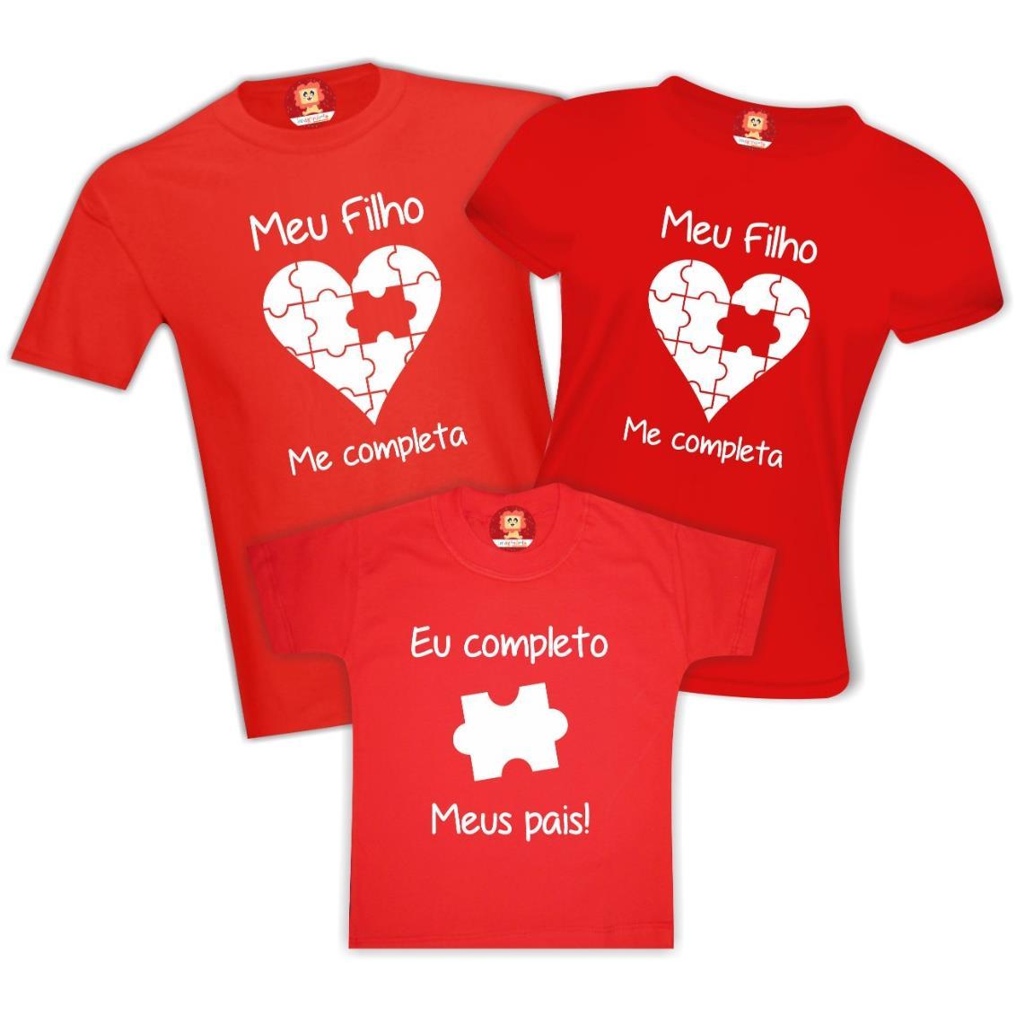 Kit Camisetas Família Me Completa Coração