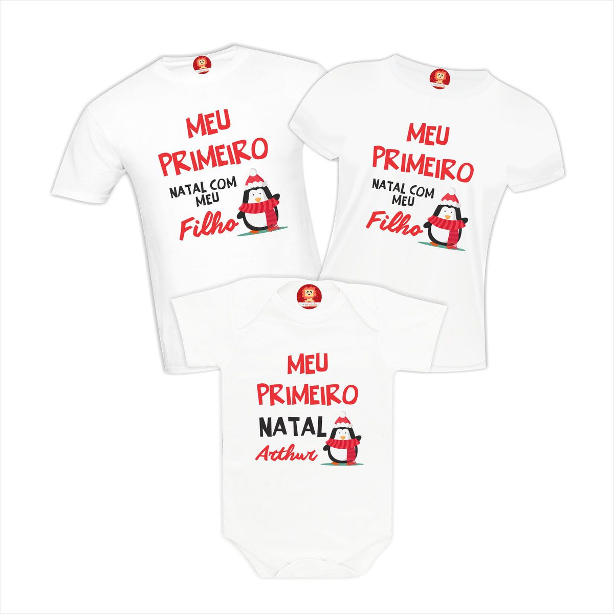 Kit Camisetas Família Meu Primeiro Natal - Pinguim