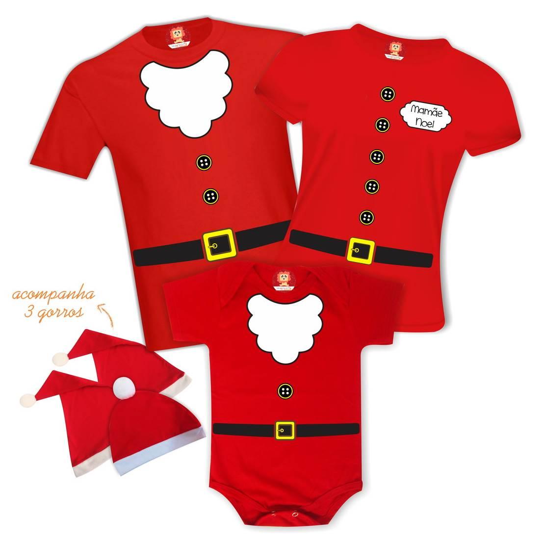 Kit Camisetas Família Noel com Filho Noel