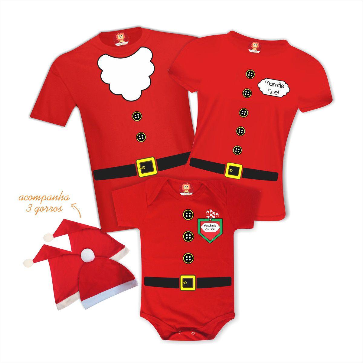 Kit Camisetas Família Noel - Infantil Ajudante do Noel