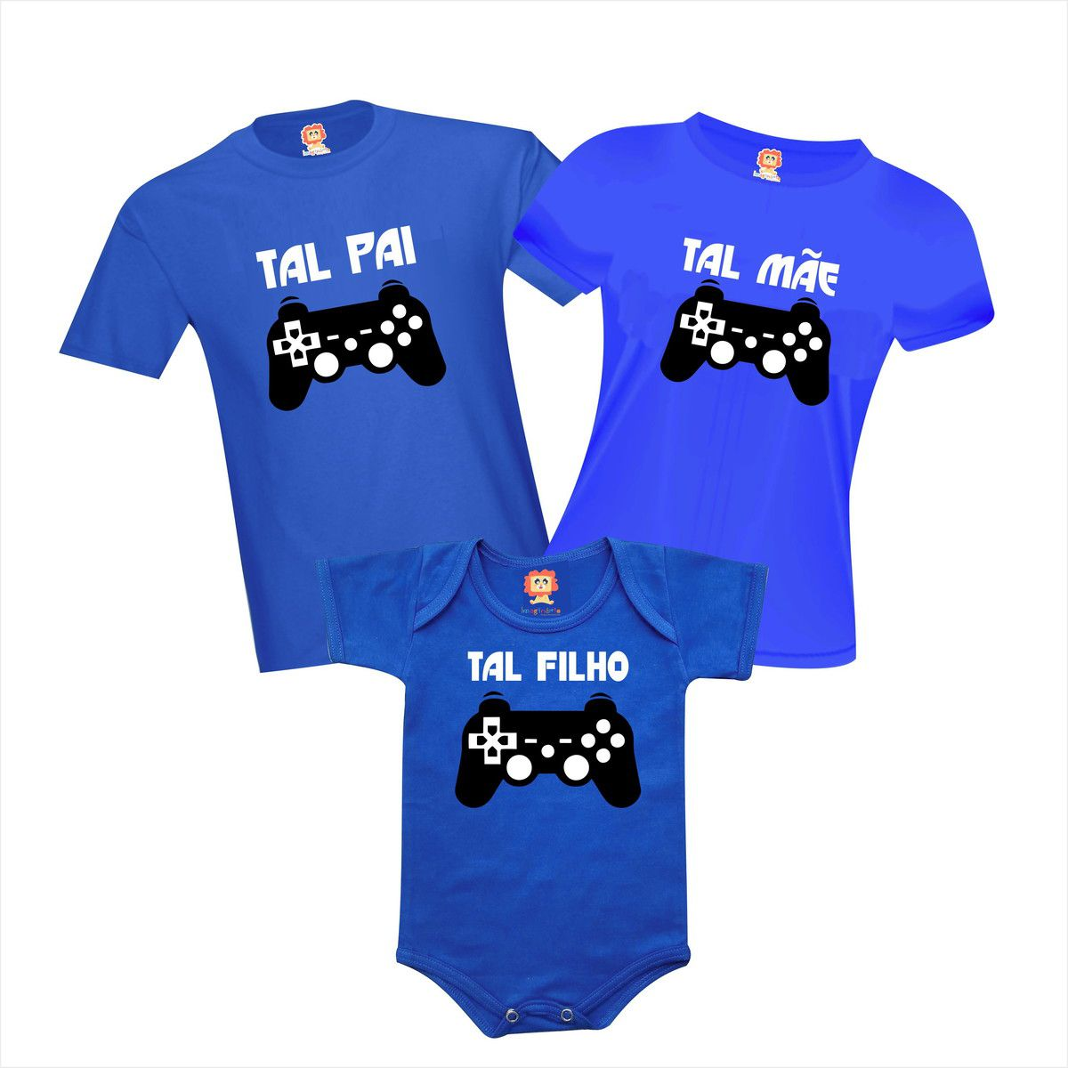 Kit Camisetas Família PlayStation Tal Pai Mãe e Filho Gamer