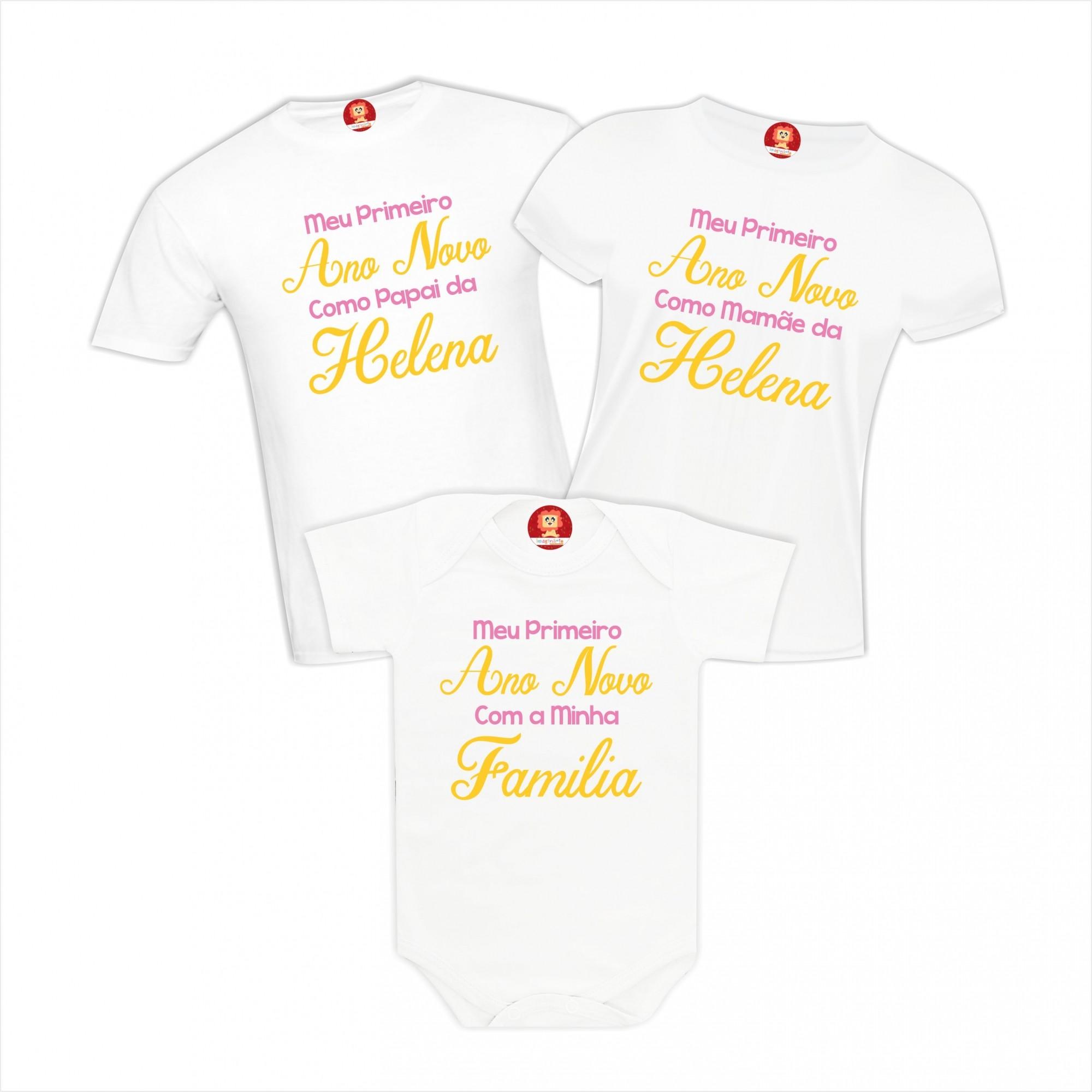 Kit Camisetas Família Primeiro Ano Novo