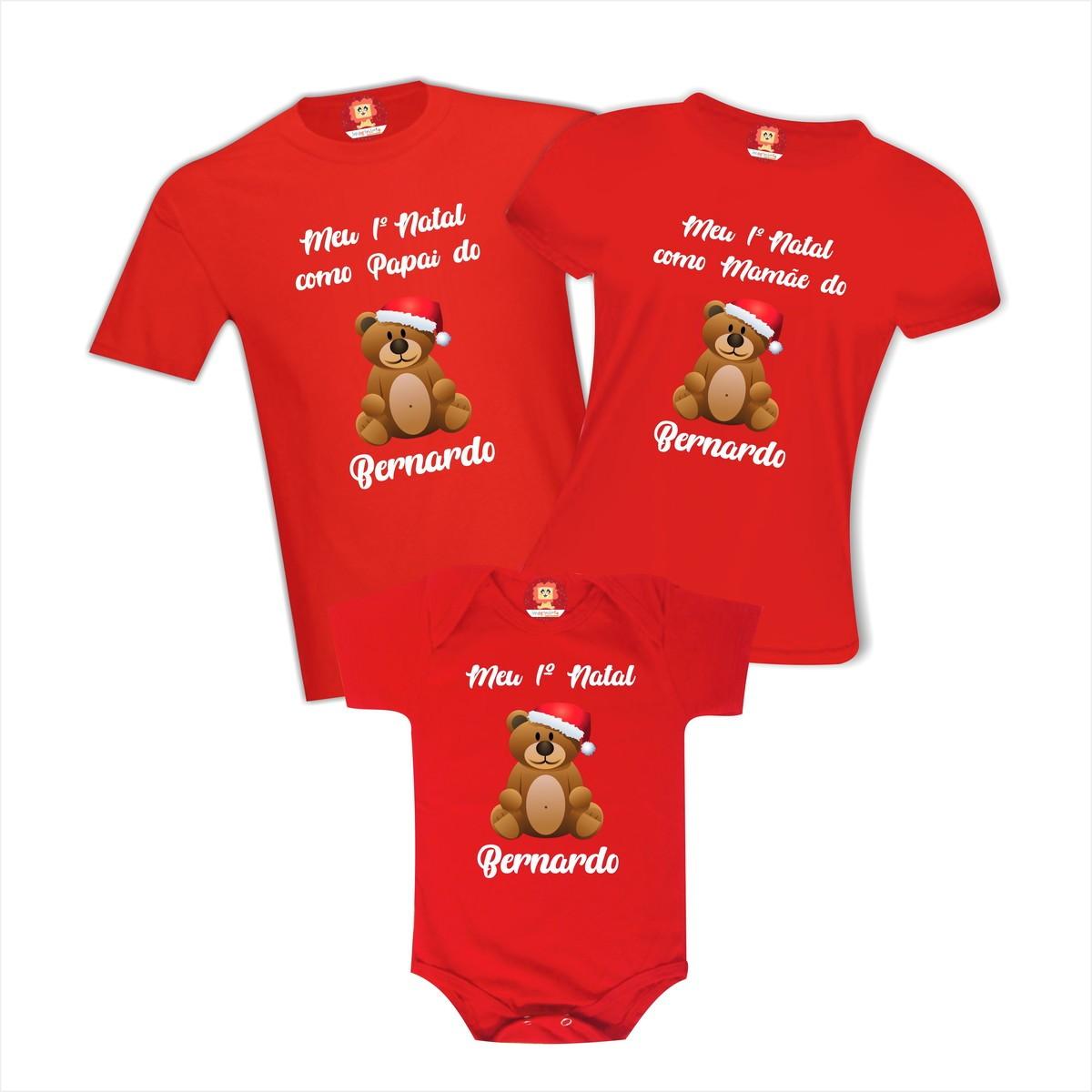 Kit Camisetas Família Primeiro Natal Ursinho