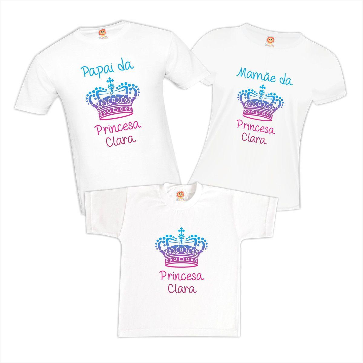 Kit Camisetas Família Princesa - Com Nome Personalizado