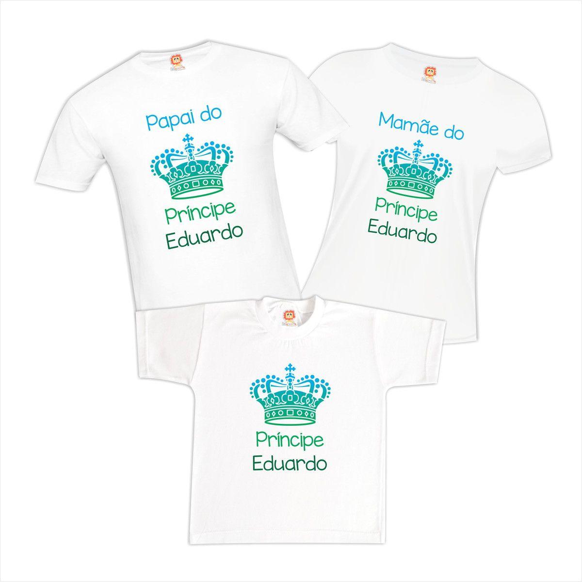 Kit Camisetas Família Príncipe | Com Nome Personalizado