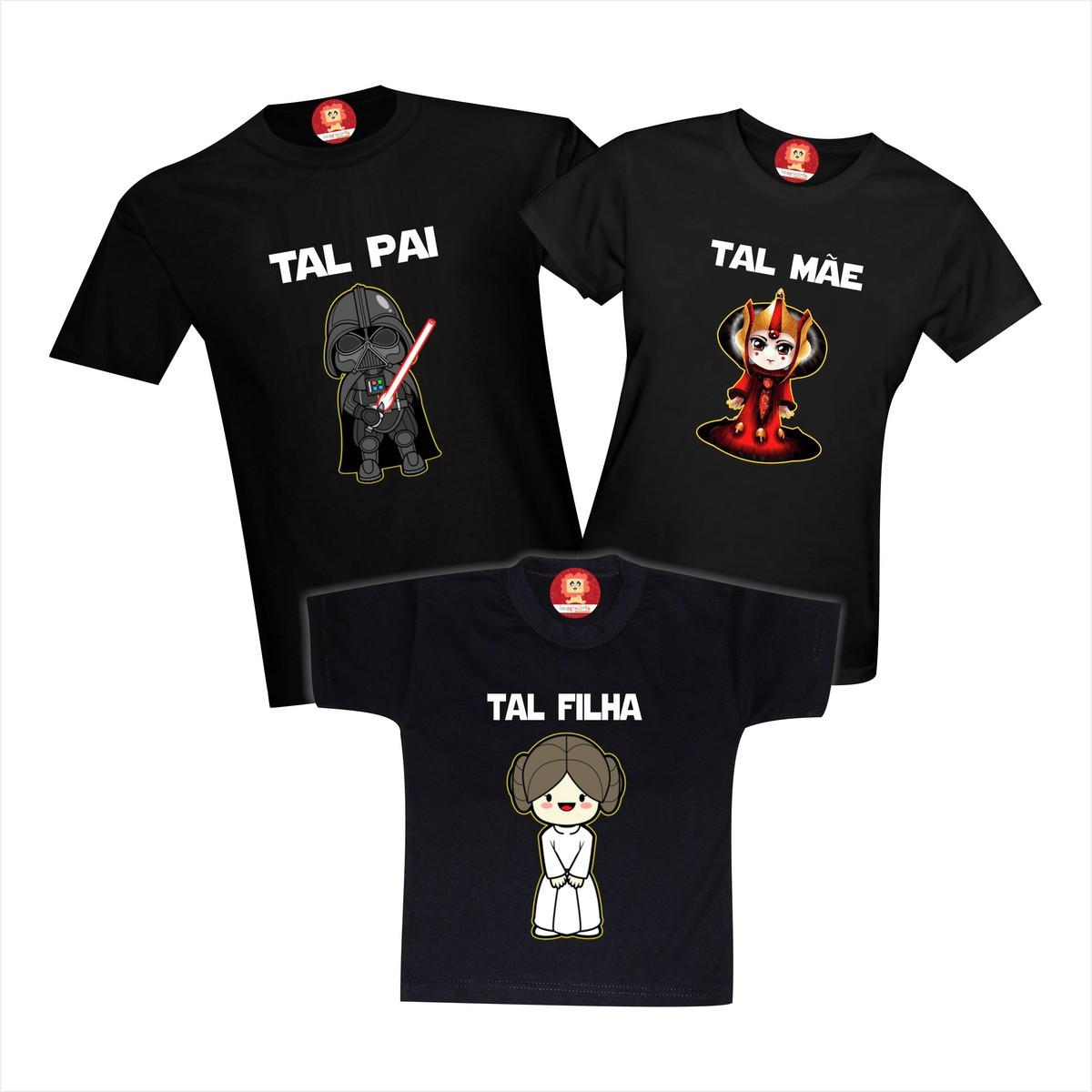 Kit Camisetas Família StarWars Darth Vader, Padma Amidala, Princesa Leia