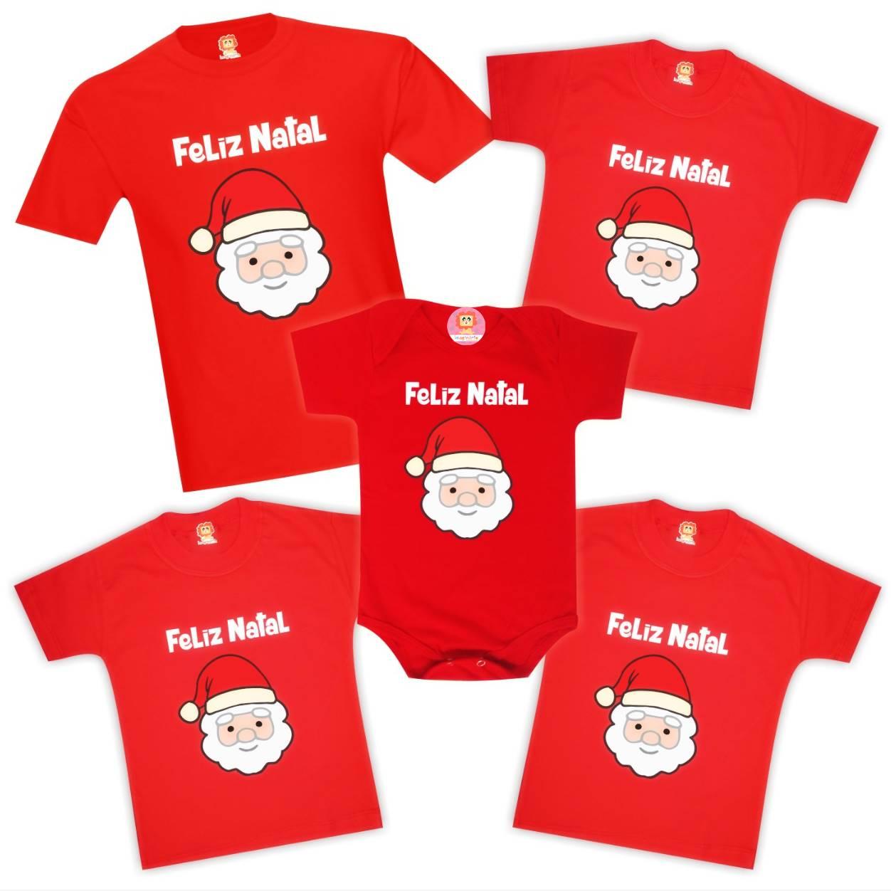 Kit Camisetas Feliz Natal Família Papai Noel 5 peças