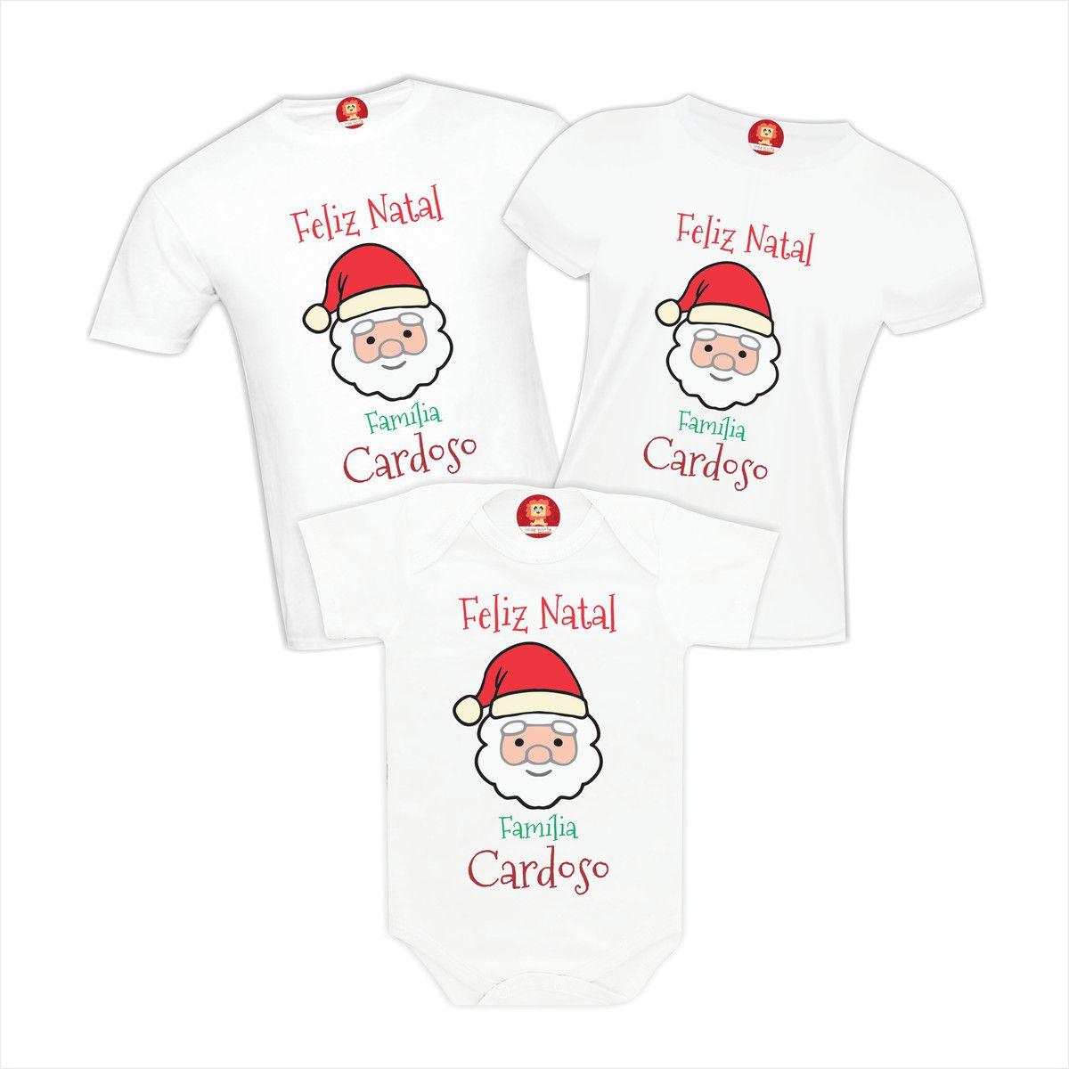 Kit Camisetas Feliz Natal Família Personalizado com Nome