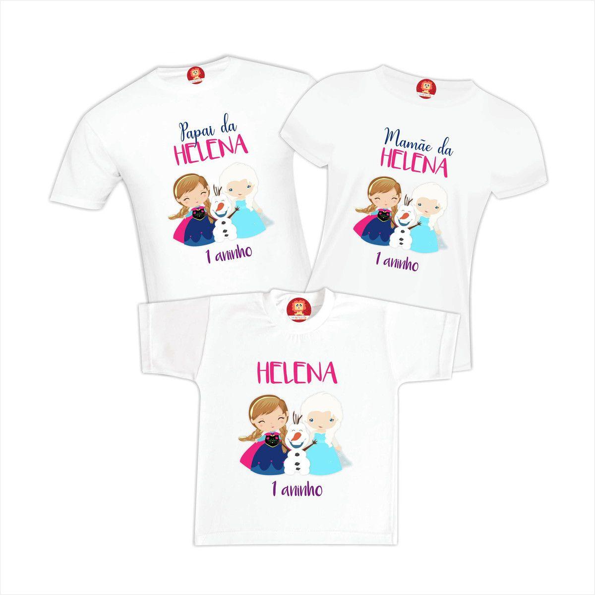 Kit Camisetas Festa Frozen Princesa