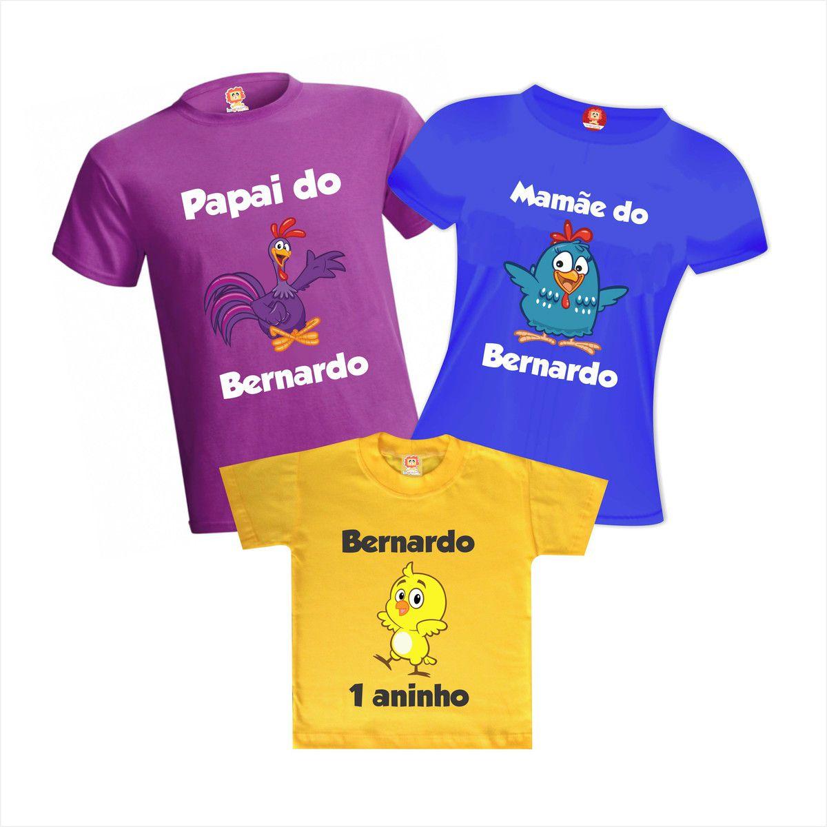 Kit Camisetas Festa Galinha Pintadinha Personalizadas Com Nome