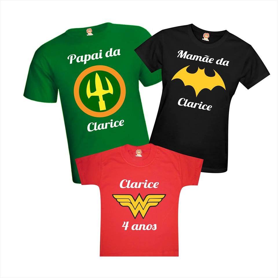 Kit Camisetas Festa Heróis Filha Maravilha