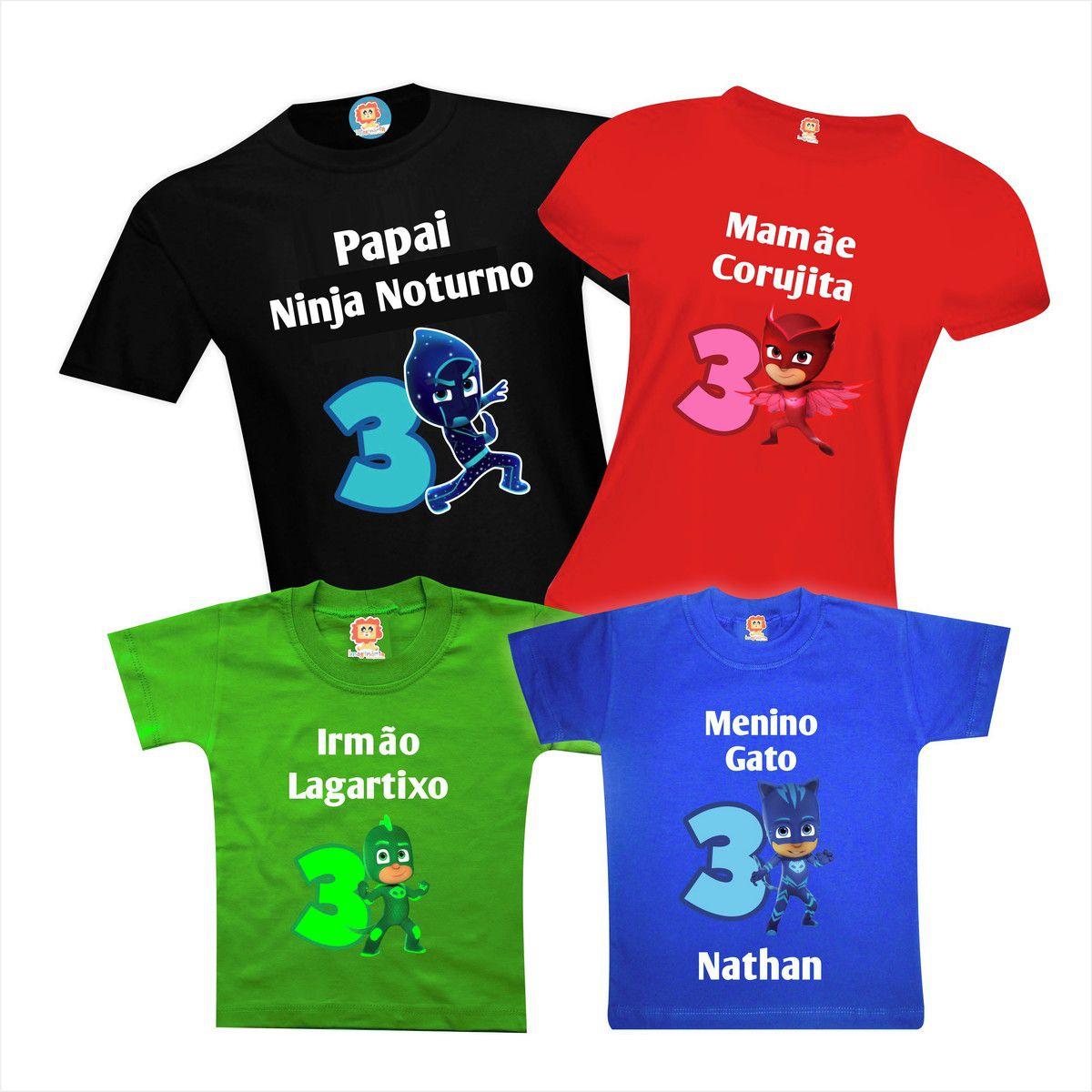 Kit Camisetas Festa PJ Masks - Heróis de Pijama