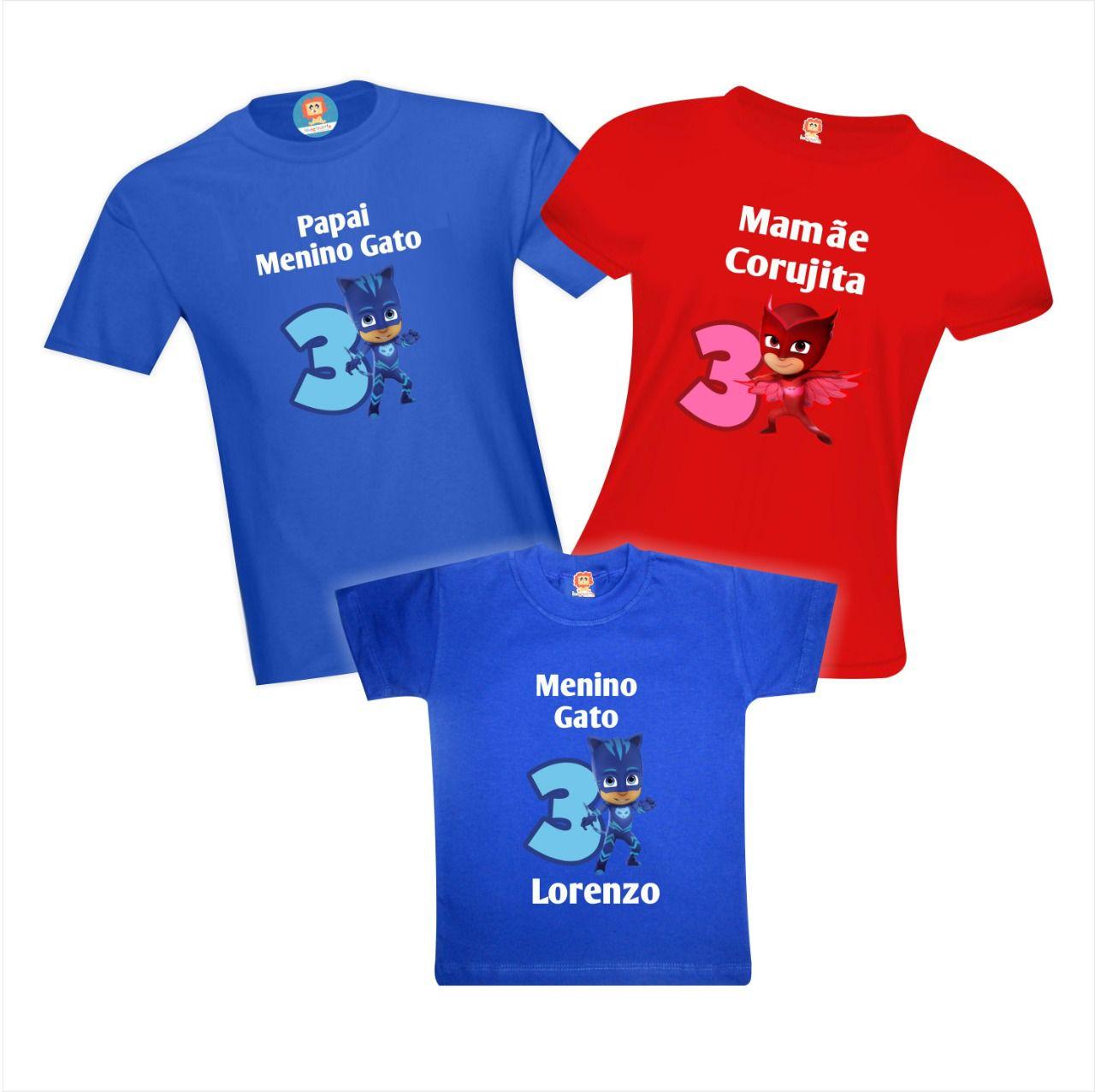 Kit Camisetas Festa PJ Masks - Menino Gato