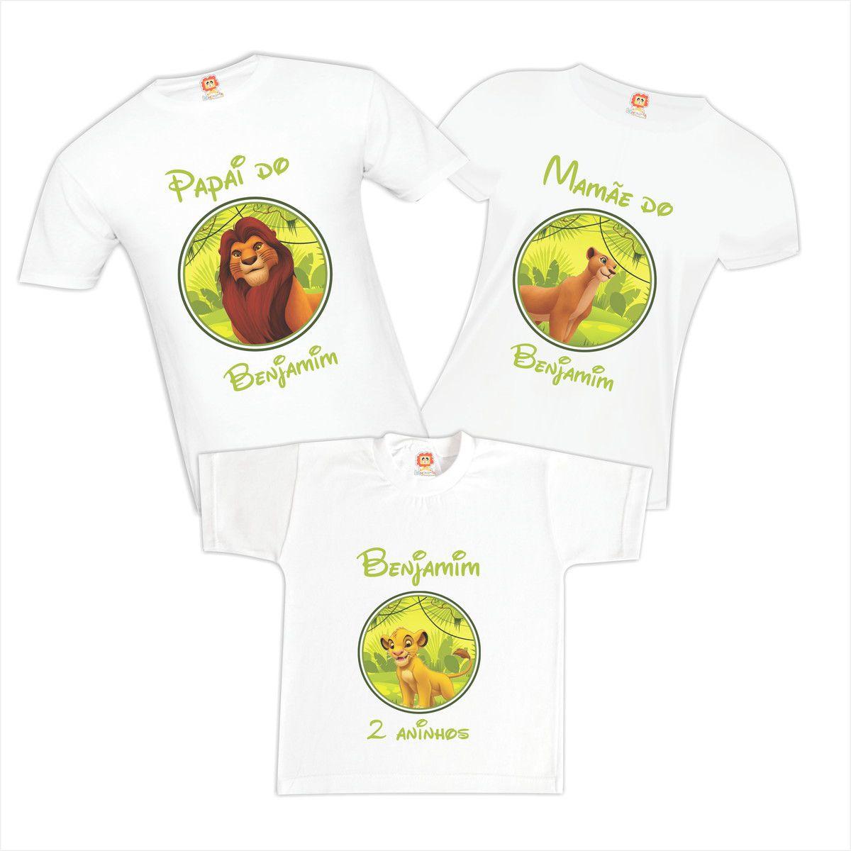 Camisetas de Aniversário Rei Leão Personalizadas Com Nome Mufasa Simba Naila