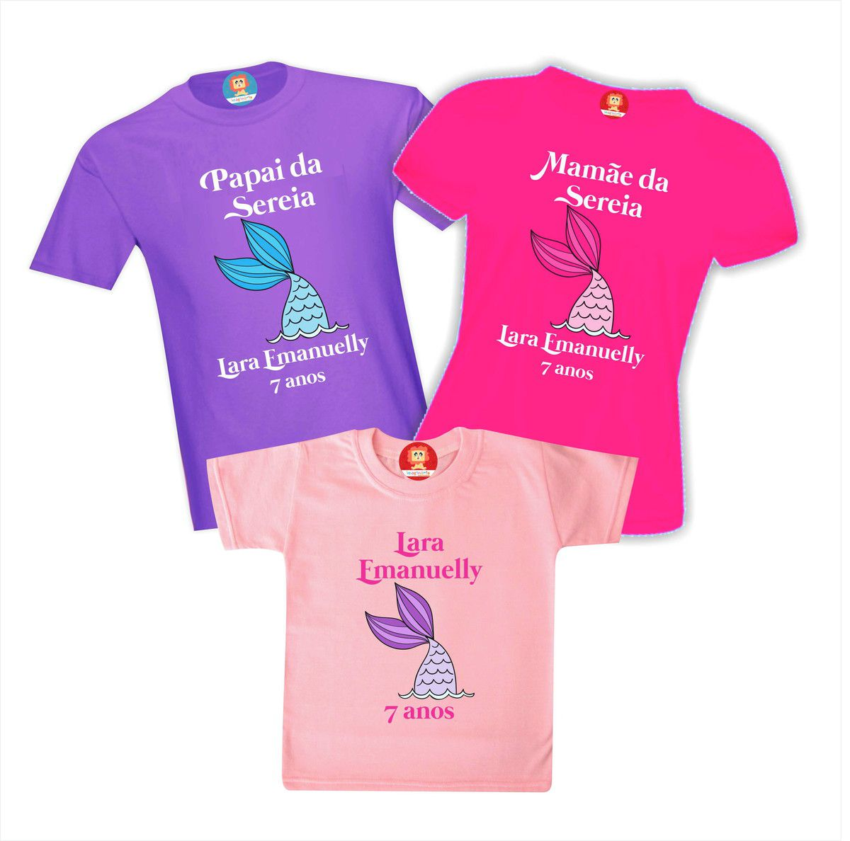 Kit Camisetas Festa Sereia Fundo do Mar